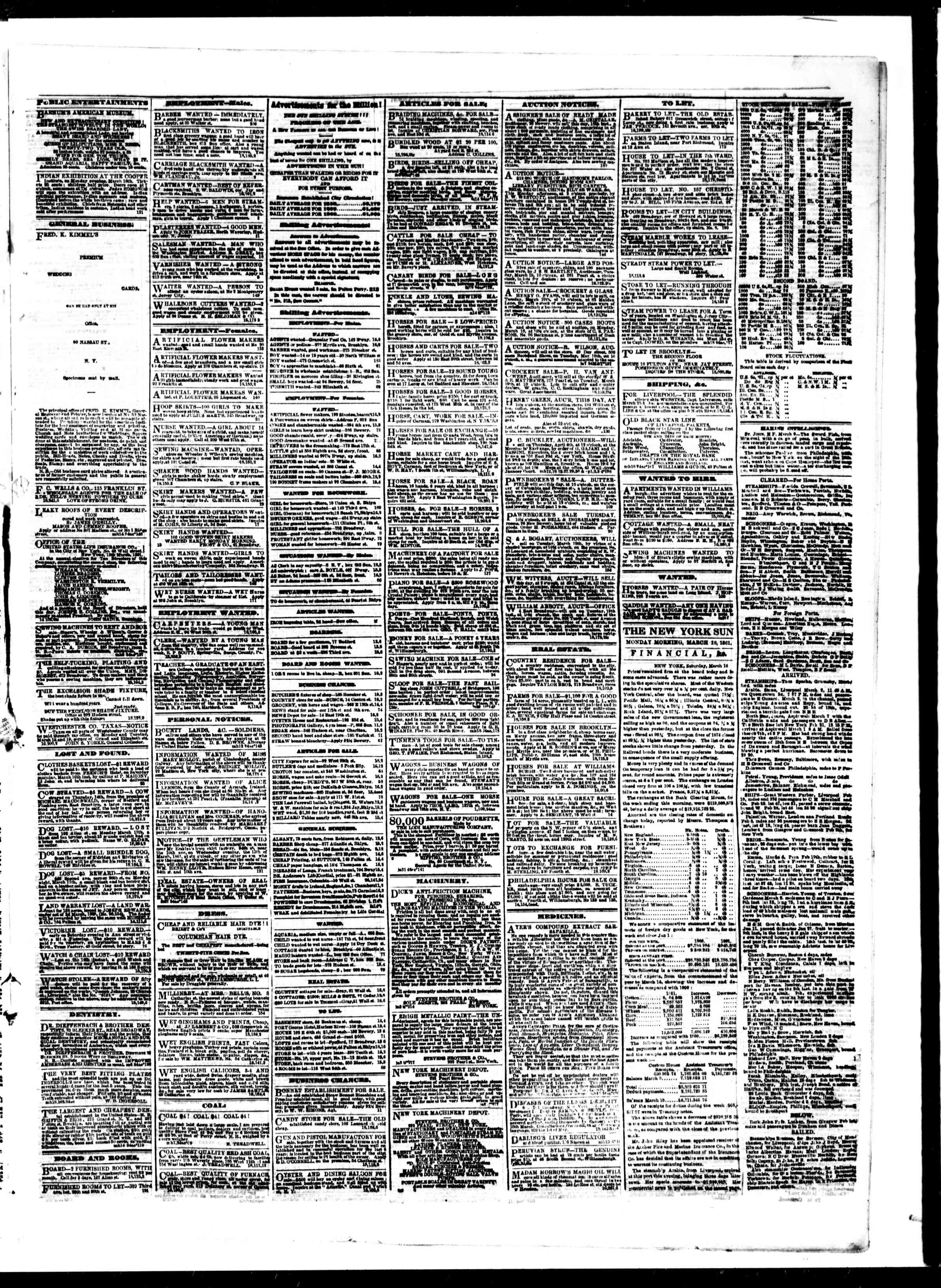 Newspaper of The Sun dated March 18, 1861 Page 3
