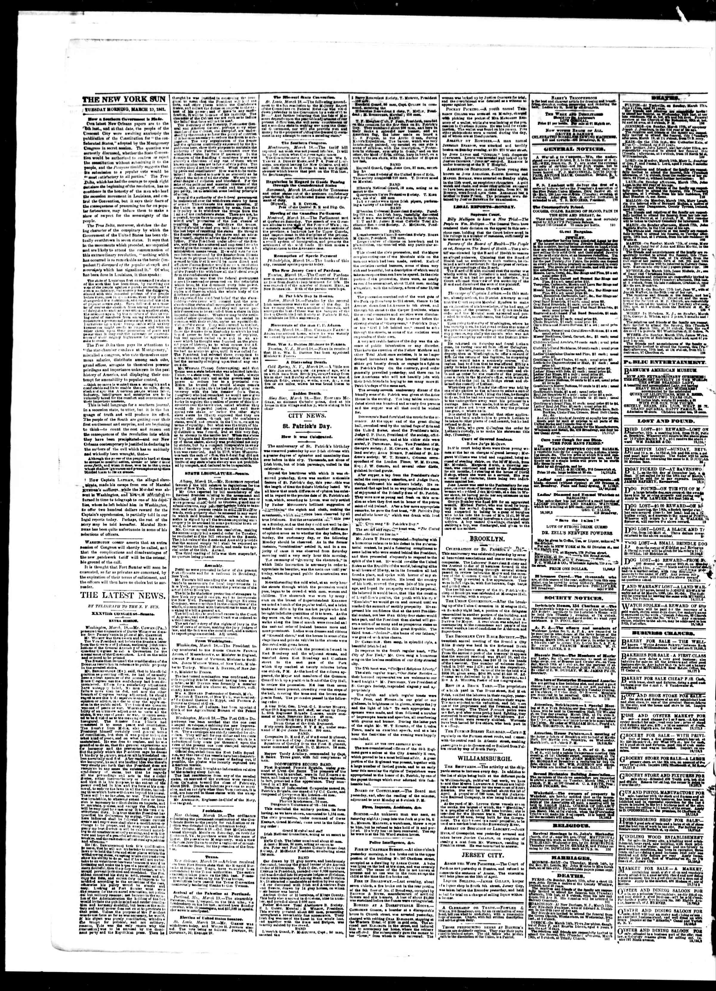 Newspaper of The Sun dated March 19, 1861 Page 2