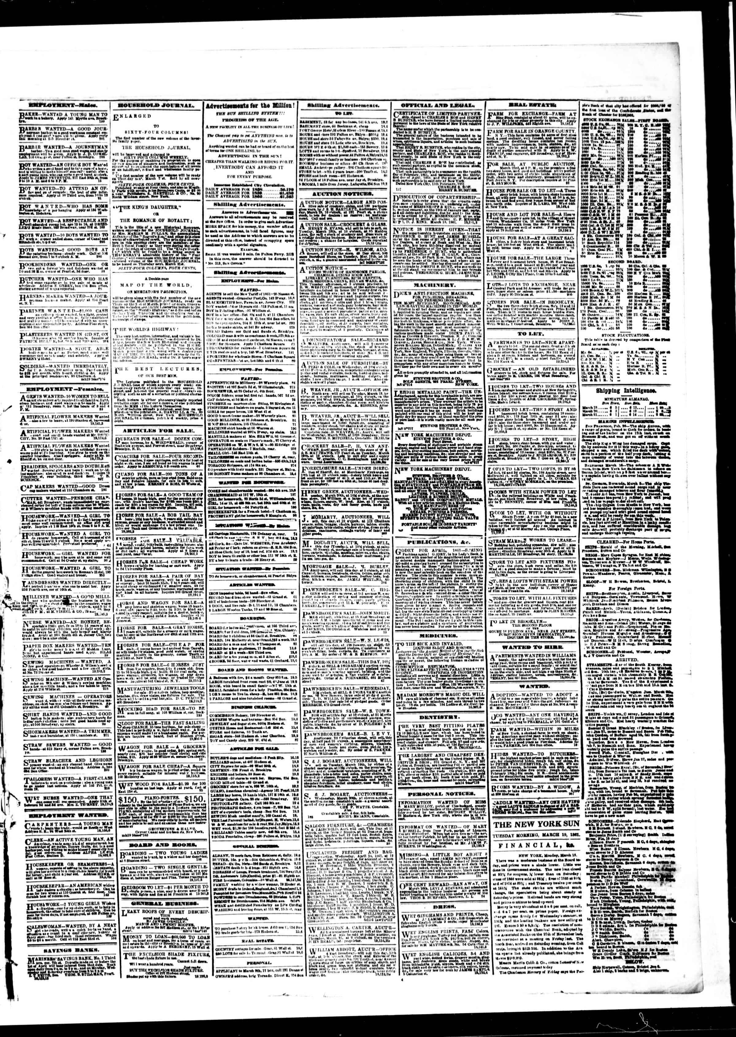 Newspaper of The Sun dated March 19, 1861 Page 3