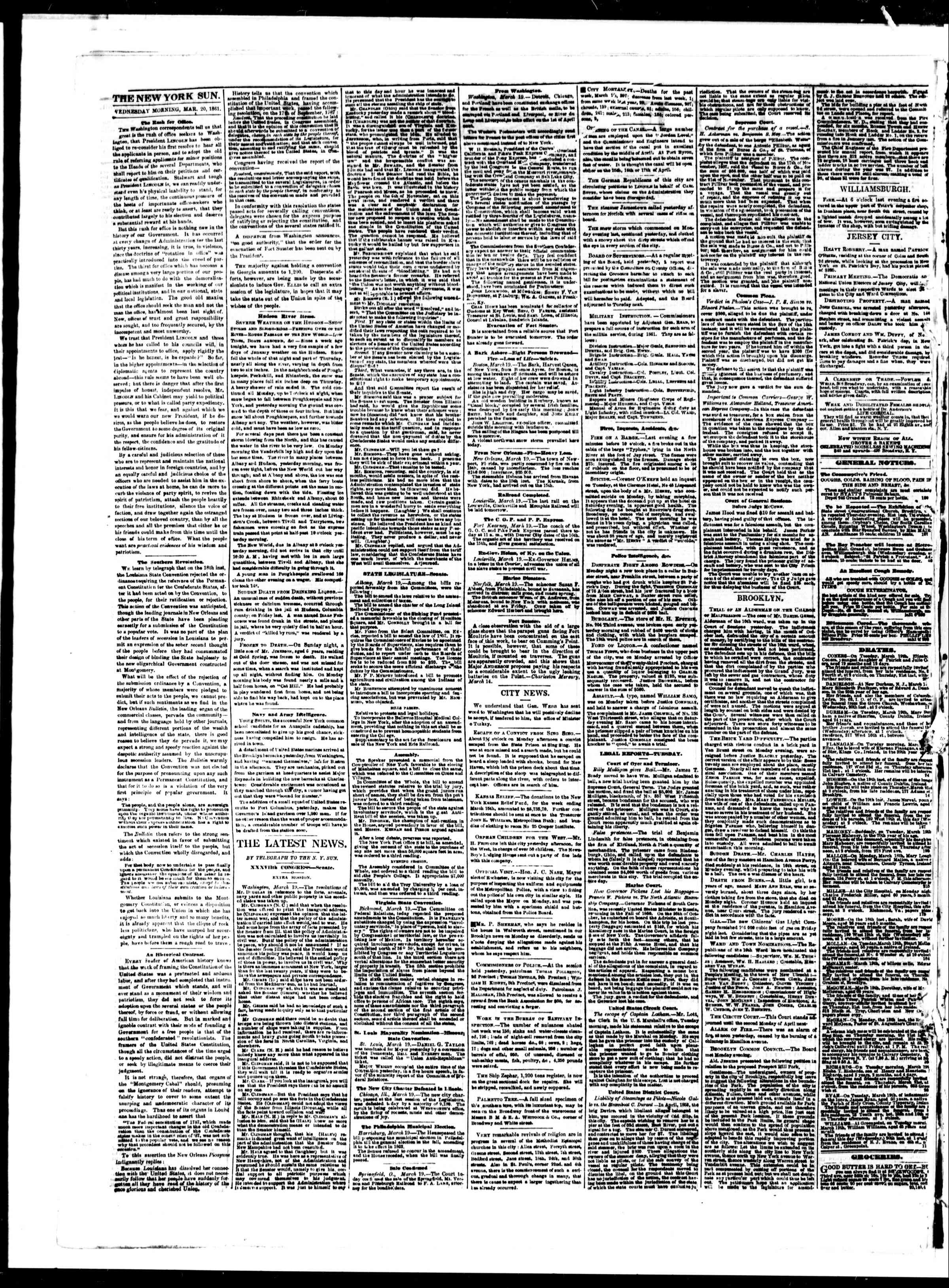 Newspaper of The Sun dated March 20, 1861 Page 2