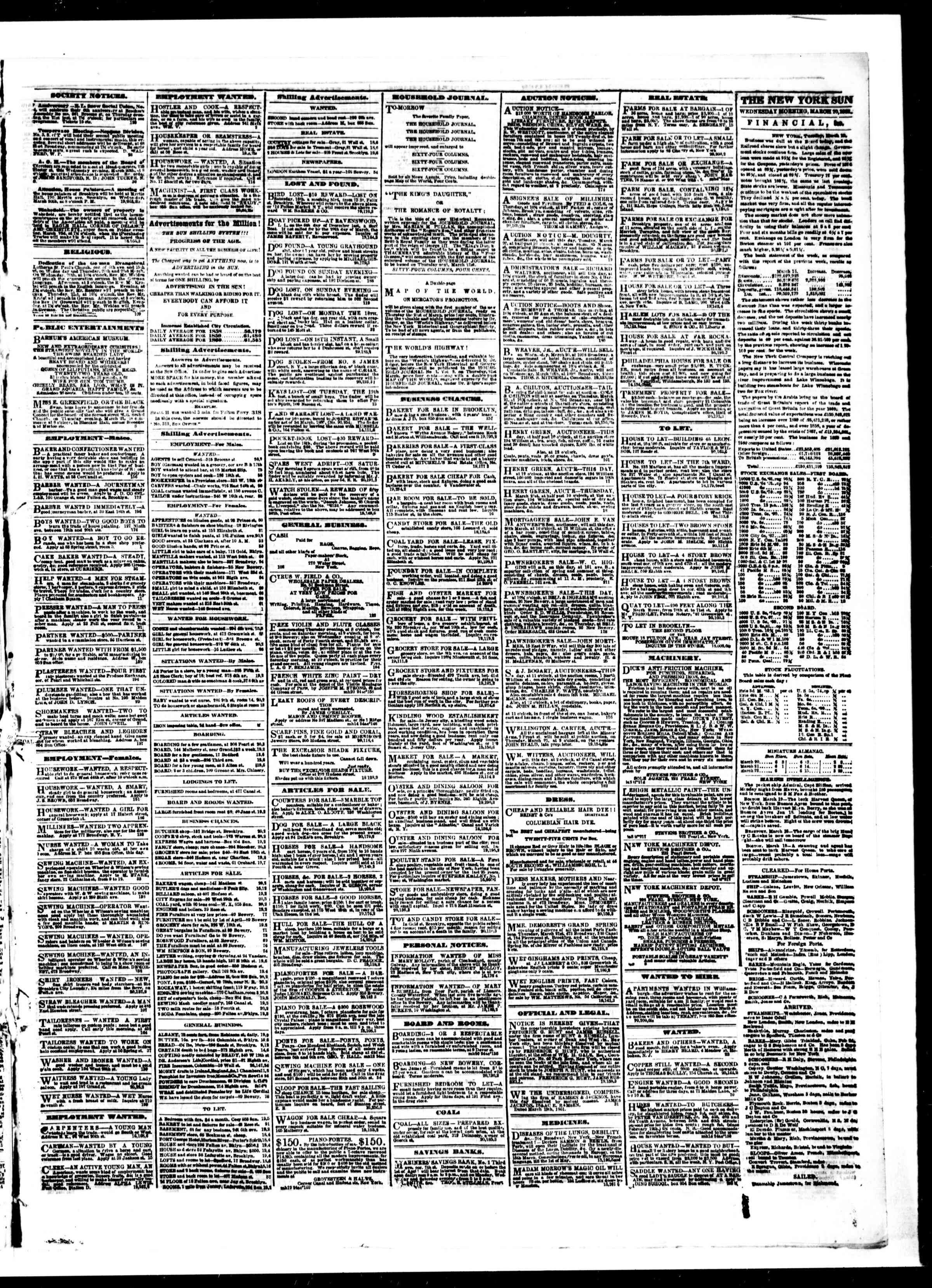Newspaper of The Sun dated March 20, 1861 Page 3