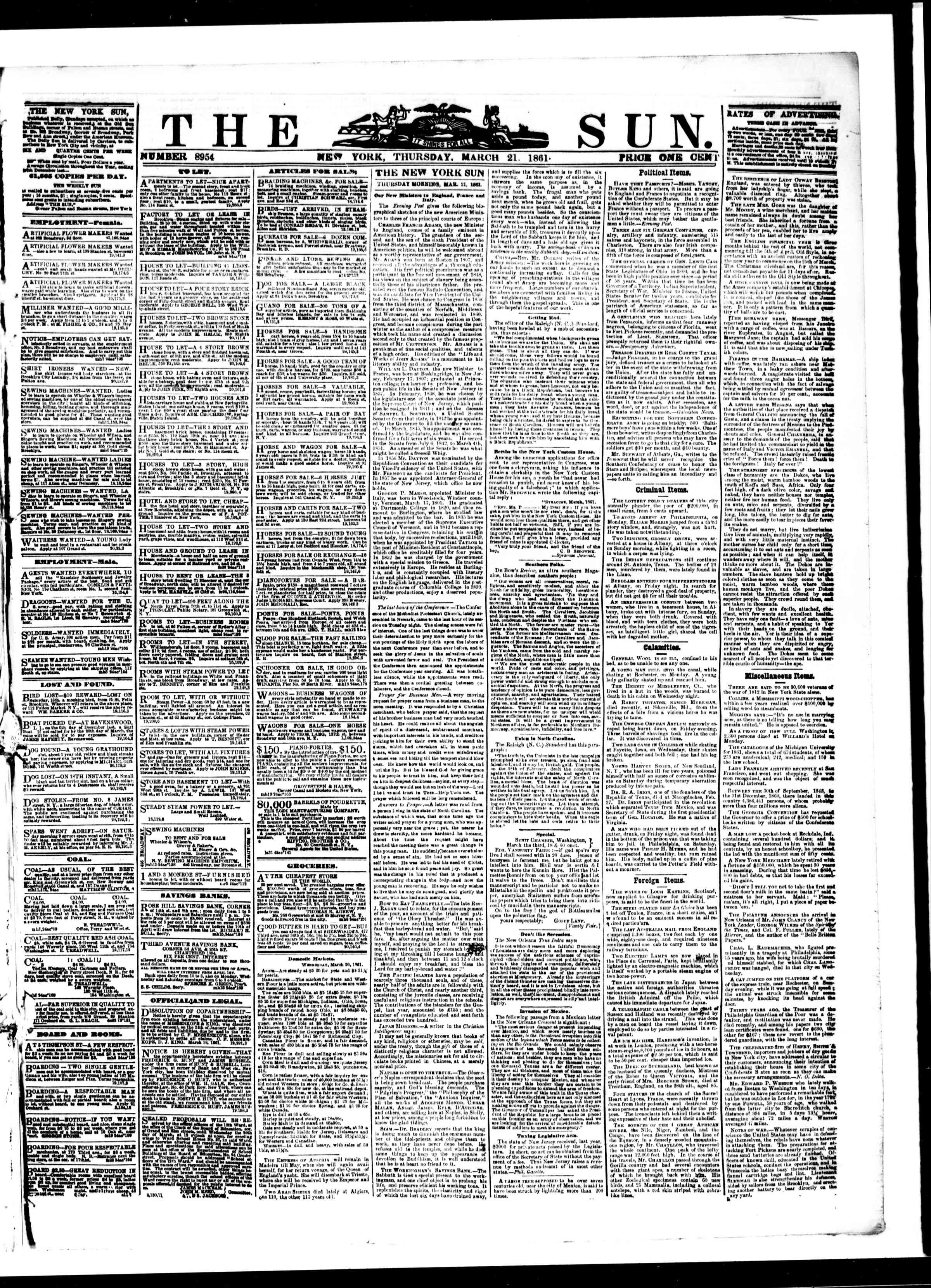 Newspaper of The Sun dated March 21, 1861 Page 1