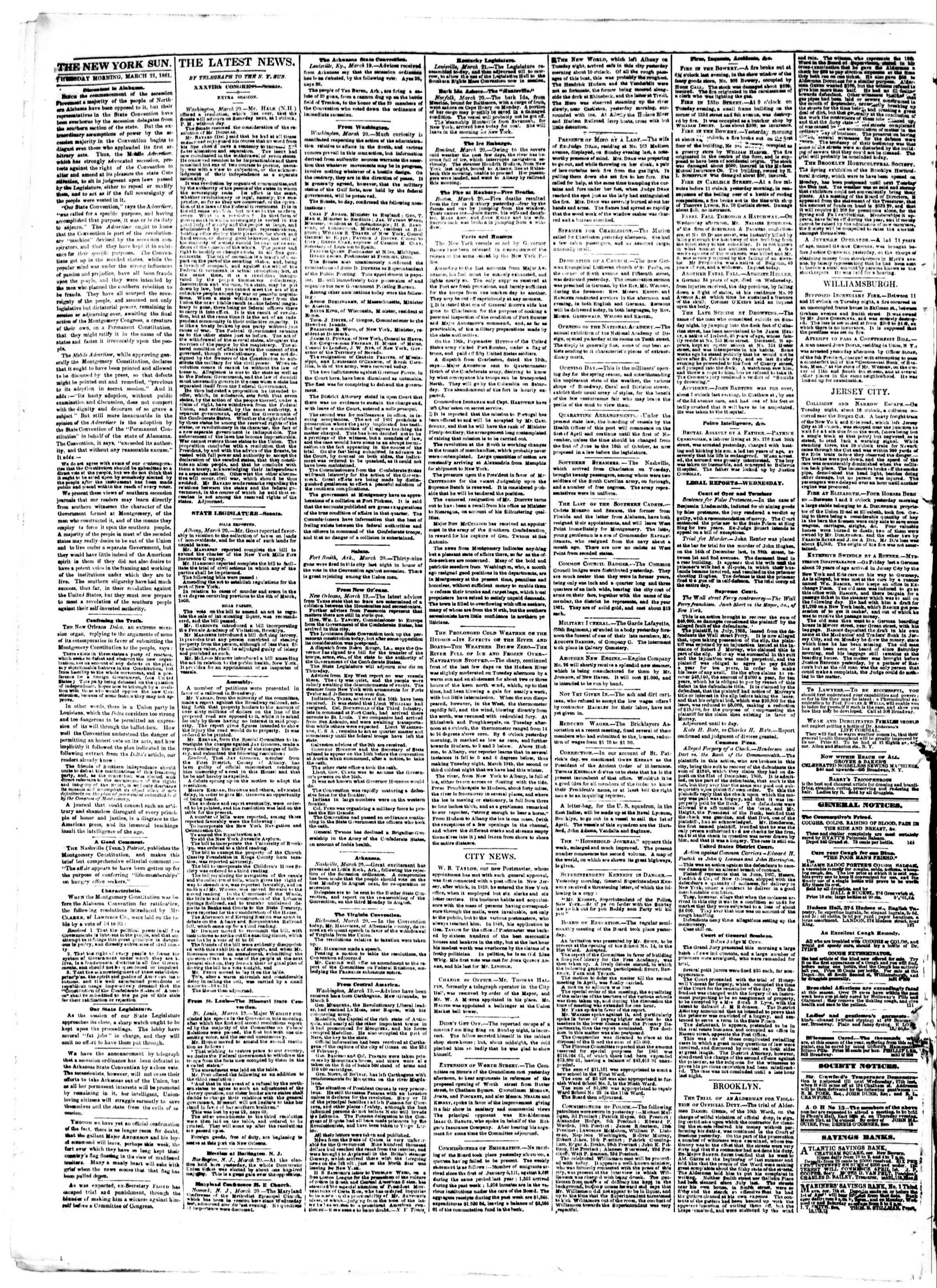 Newspaper of The Sun dated March 21, 1861 Page 2