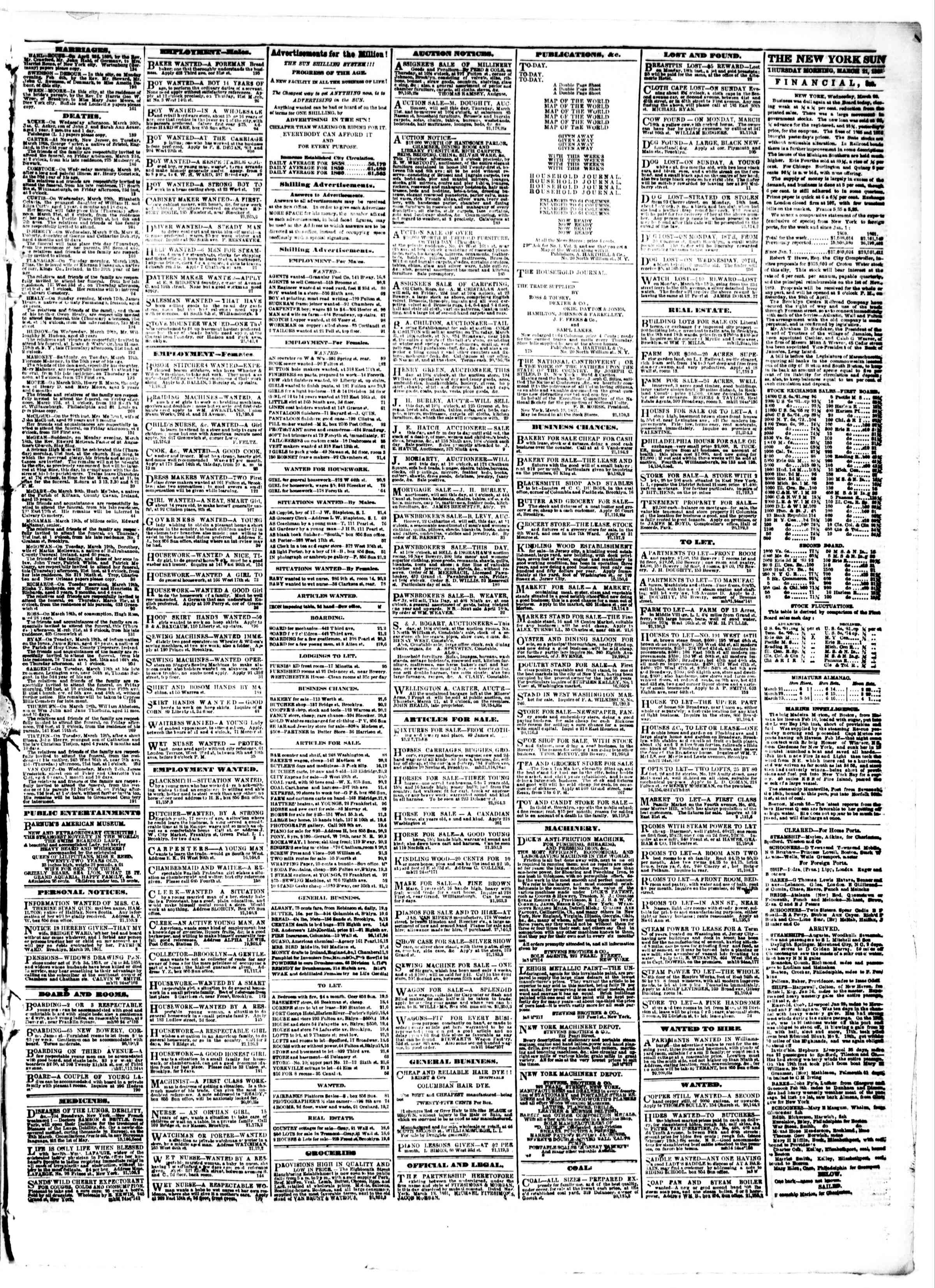 Newspaper of The Sun dated March 21, 1861 Page 3