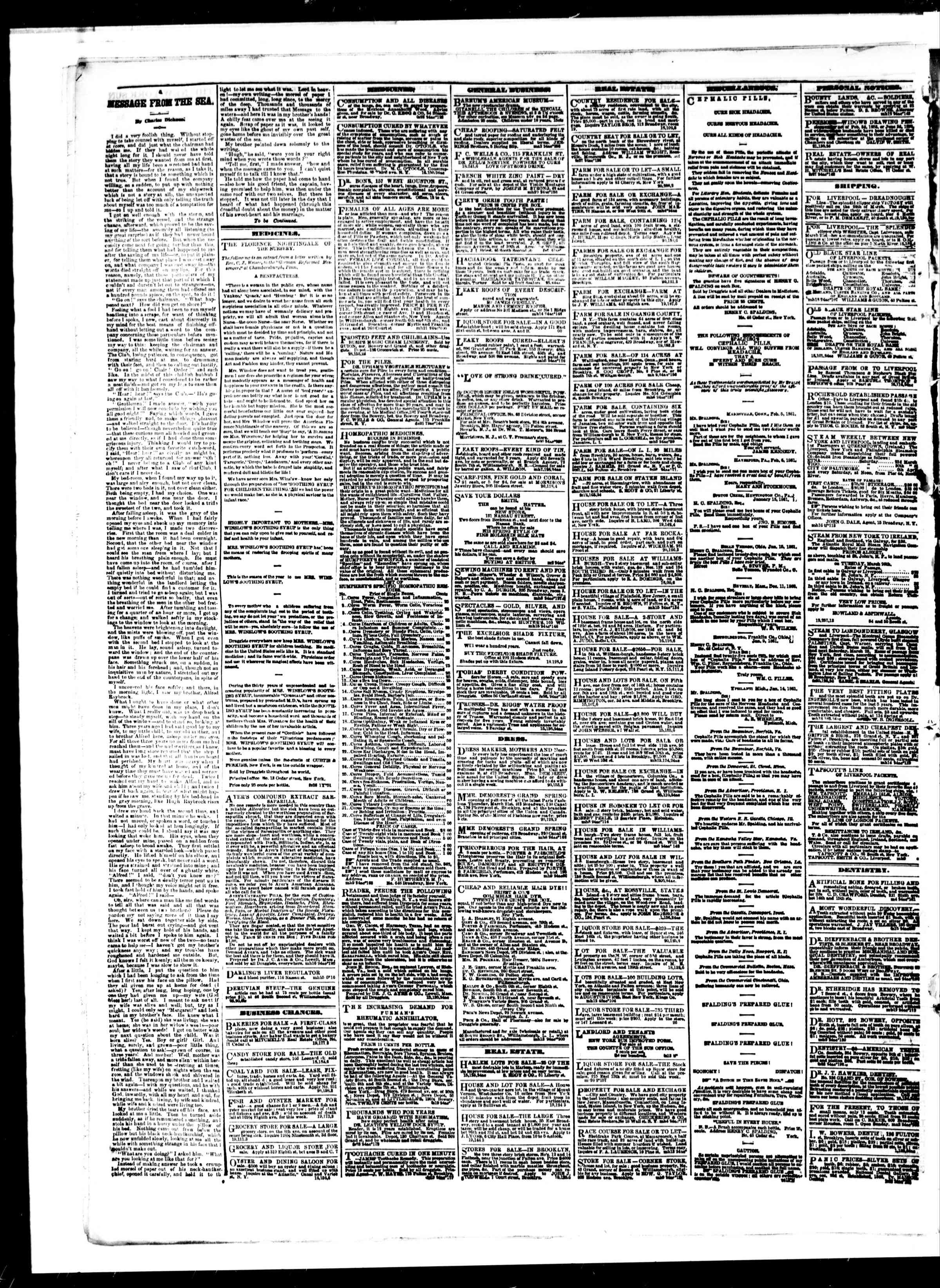 Newspaper of The Sun dated March 21, 1861 Page 4