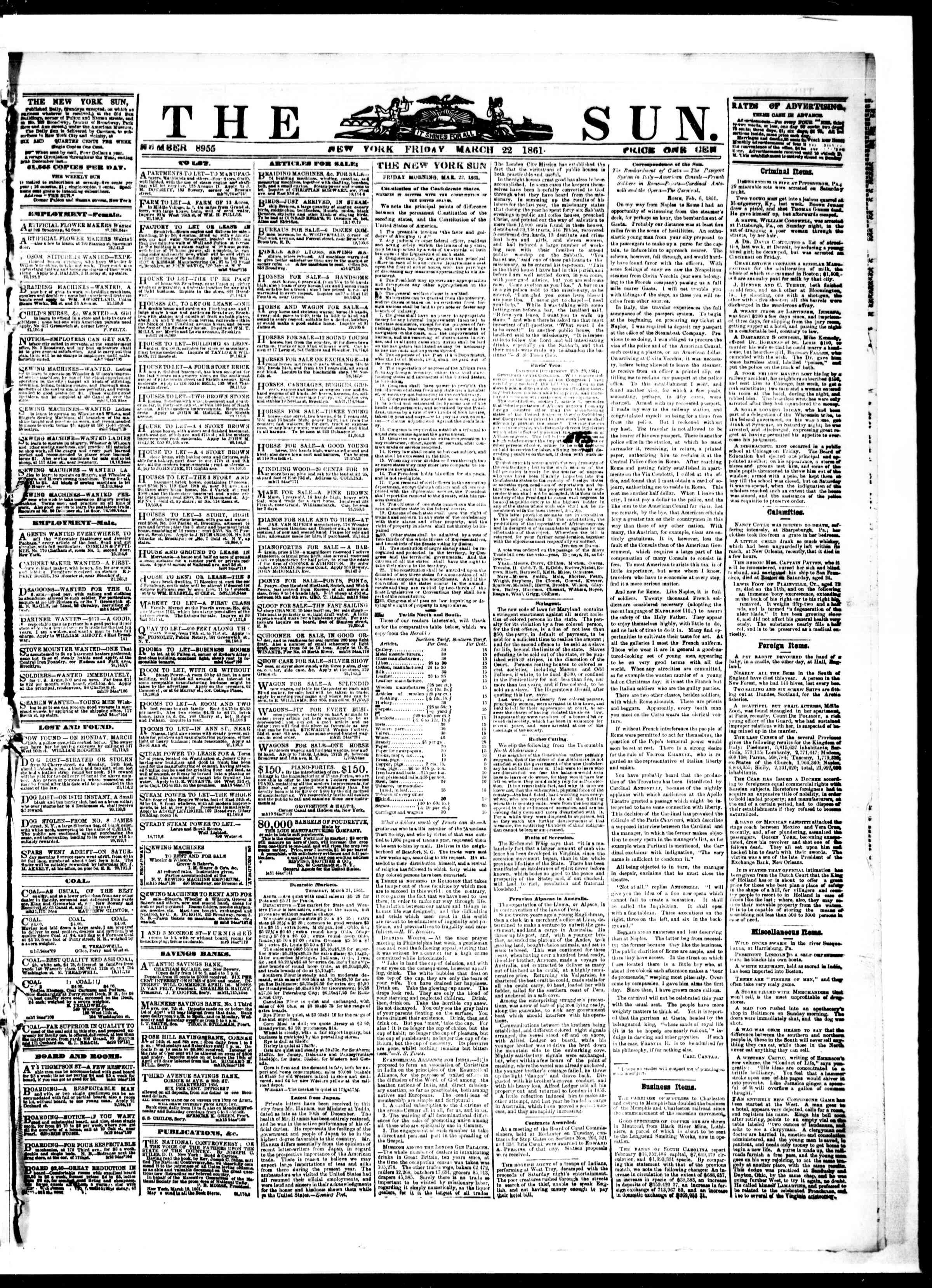 Newspaper of The Sun dated March 22, 1861 Page 1