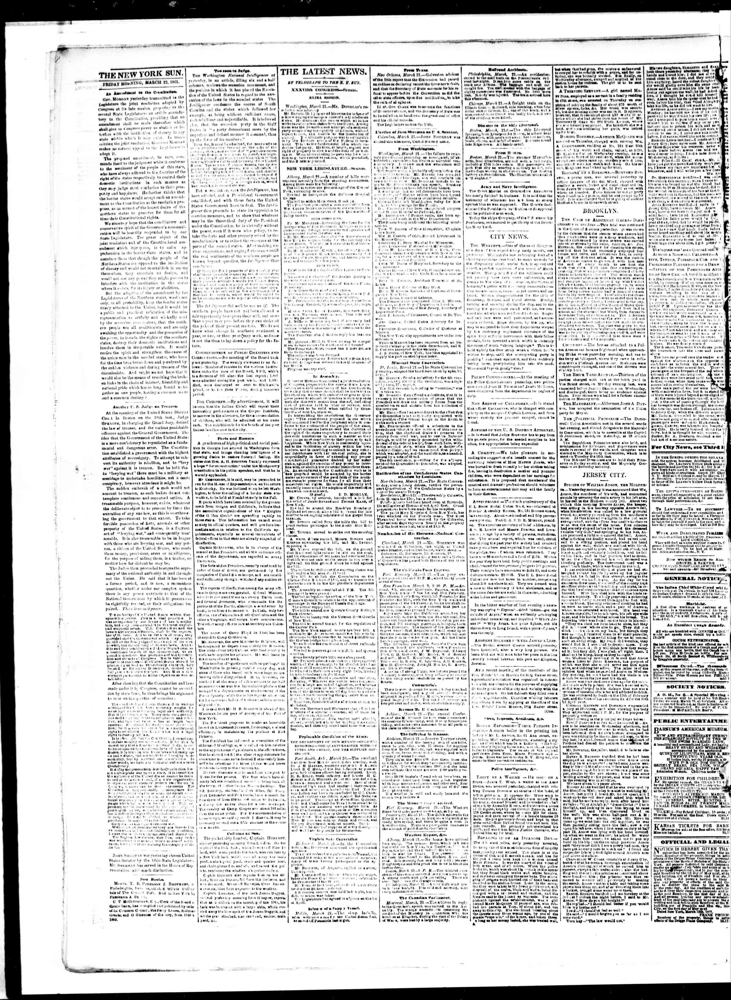 Newspaper of The Sun dated 22 Mart 1861 Page 2