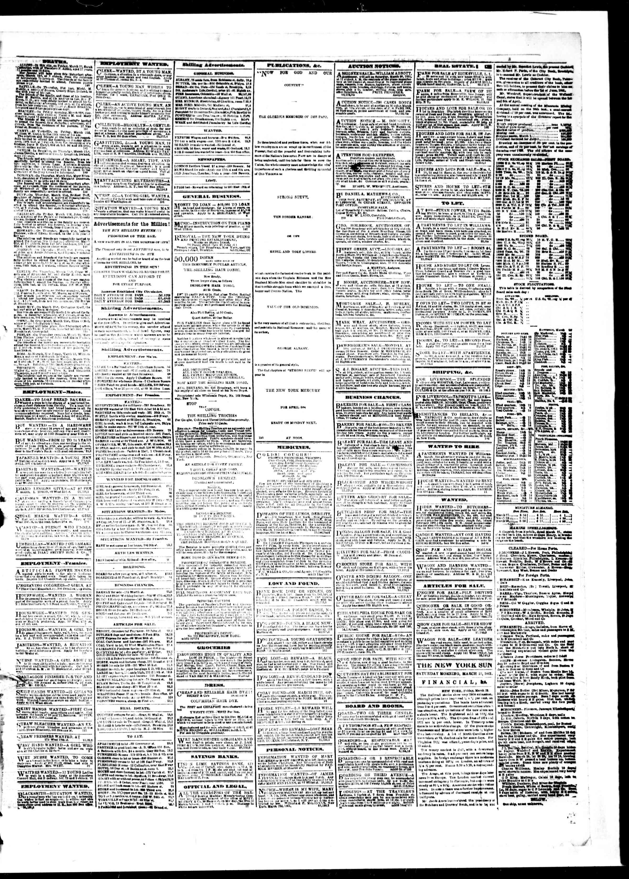 23 Mart 1861 tarihli The Sun Gazetesi Sayfa 3