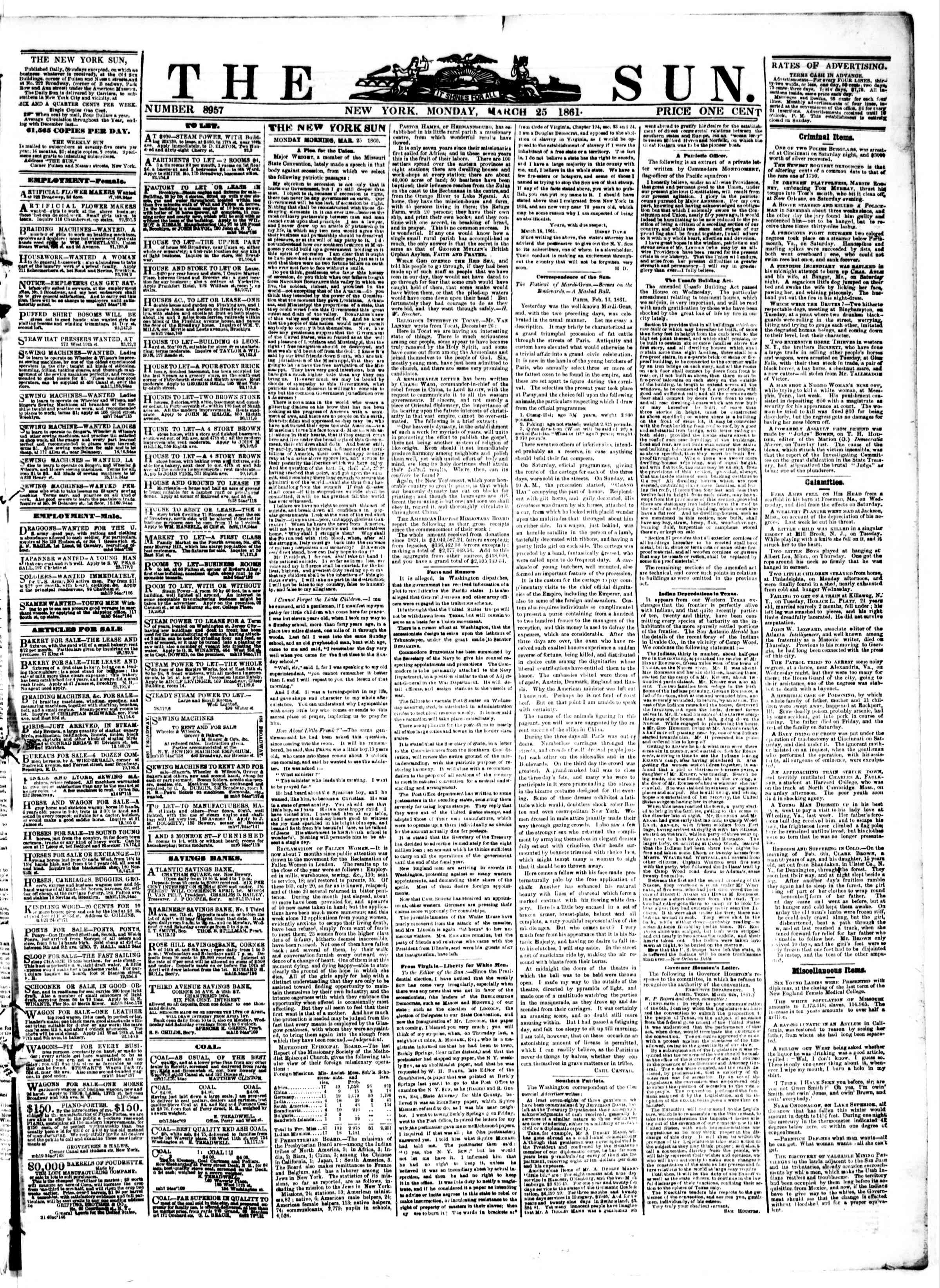 Newspaper of The Sun dated March 25, 1861 Page 1