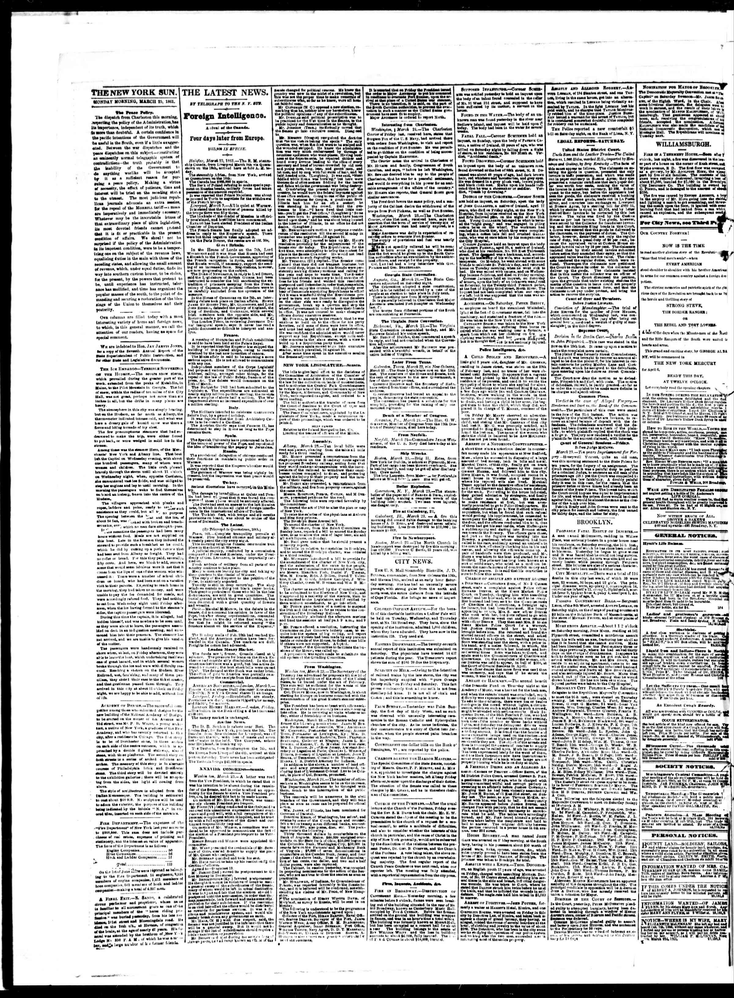 Newspaper of The Sun dated March 25, 1861 Page 2