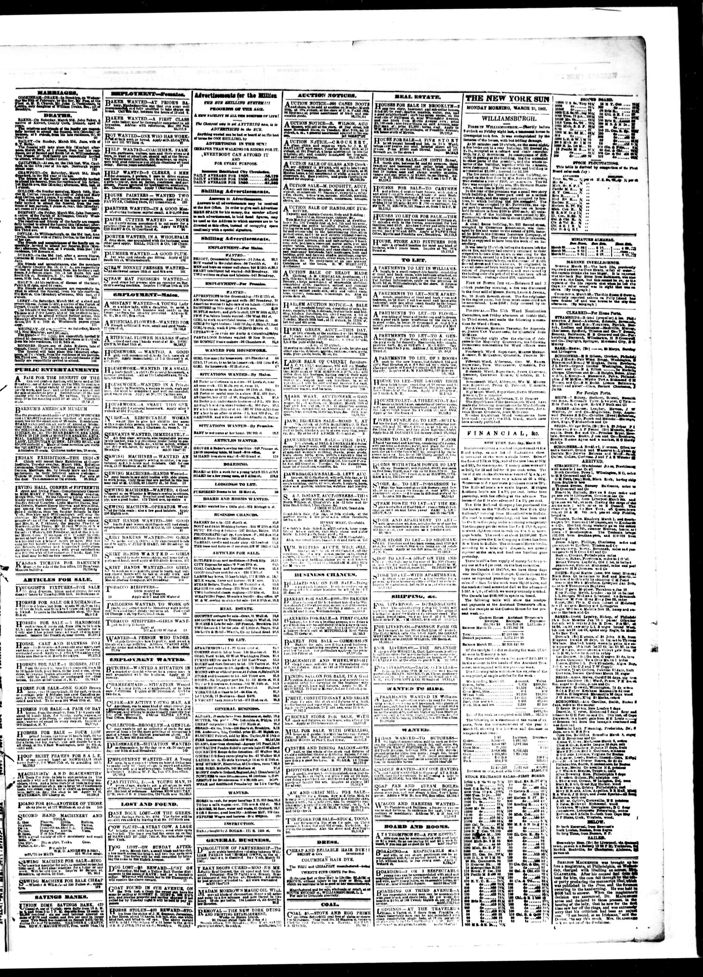 Newspaper of The Sun dated March 25, 1861 Page 3