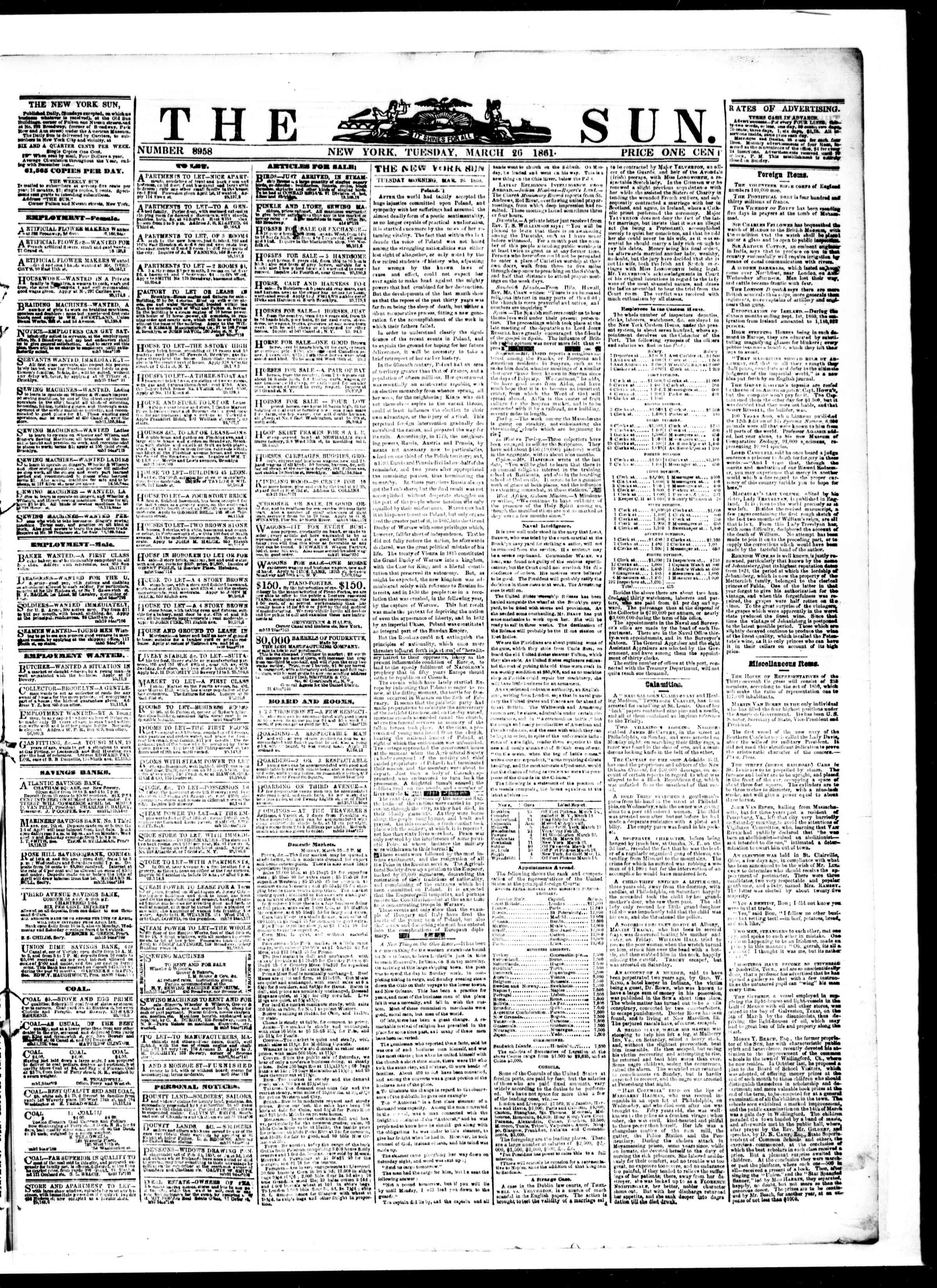 Newspaper of The Sun dated March 26, 1861 Page 1