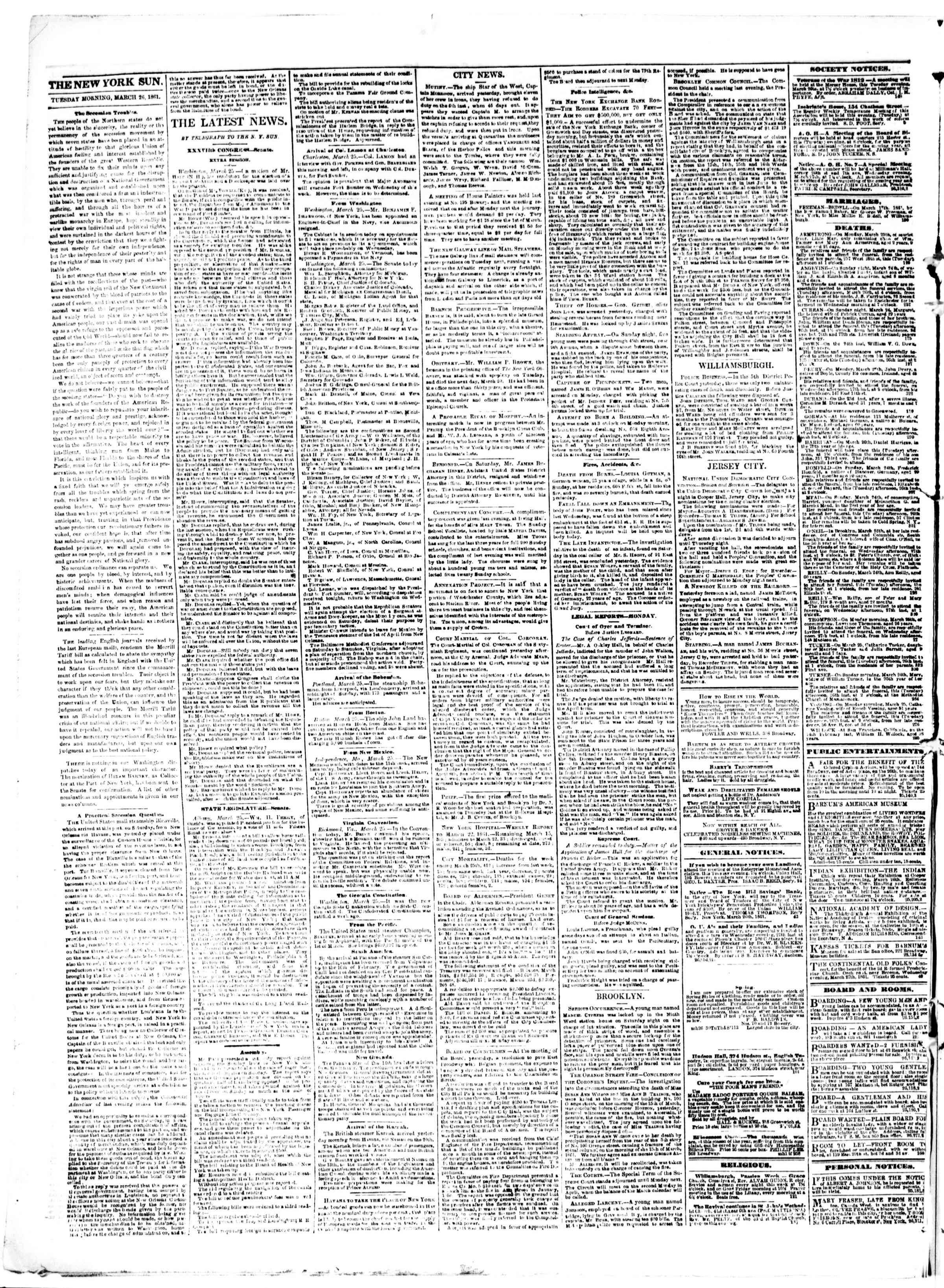 Newspaper of The Sun dated March 26, 1861 Page 2