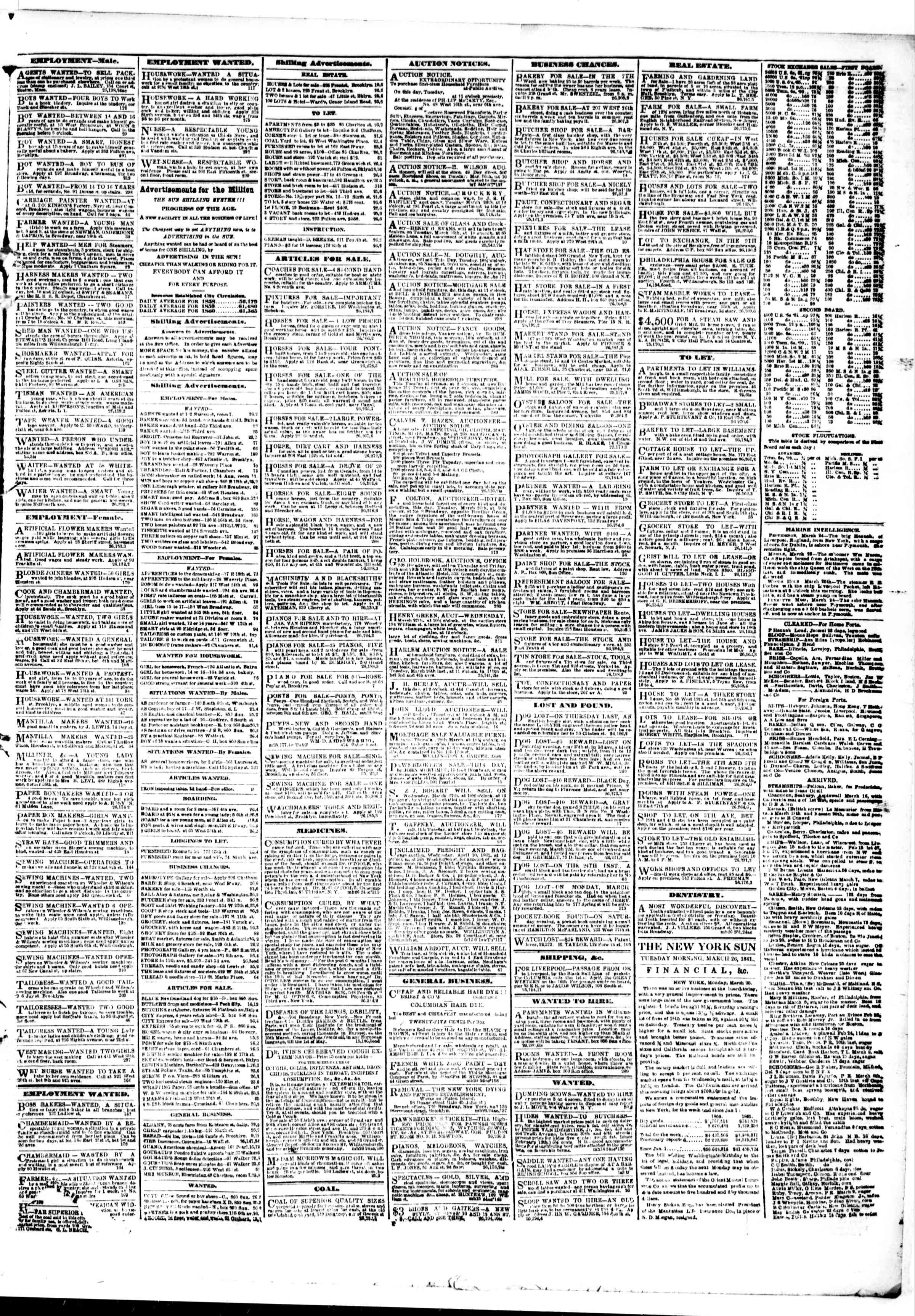 Newspaper of The Sun dated March 26, 1861 Page 3
