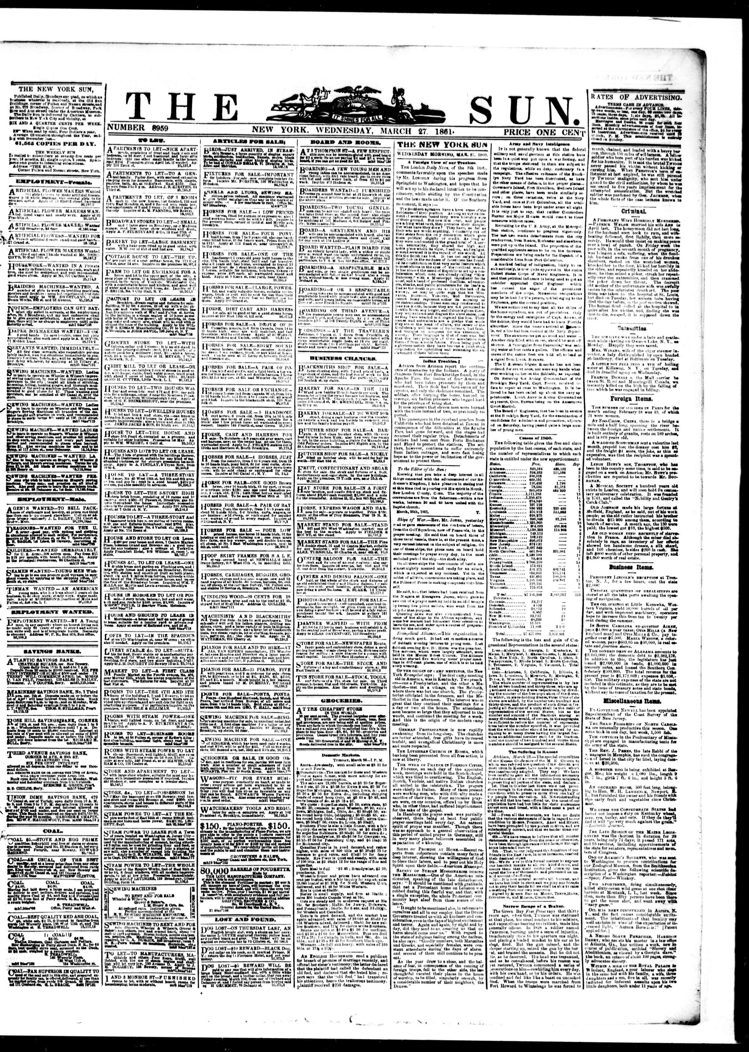 Newspaper of The Sun dated March 27, 1861 Page 1