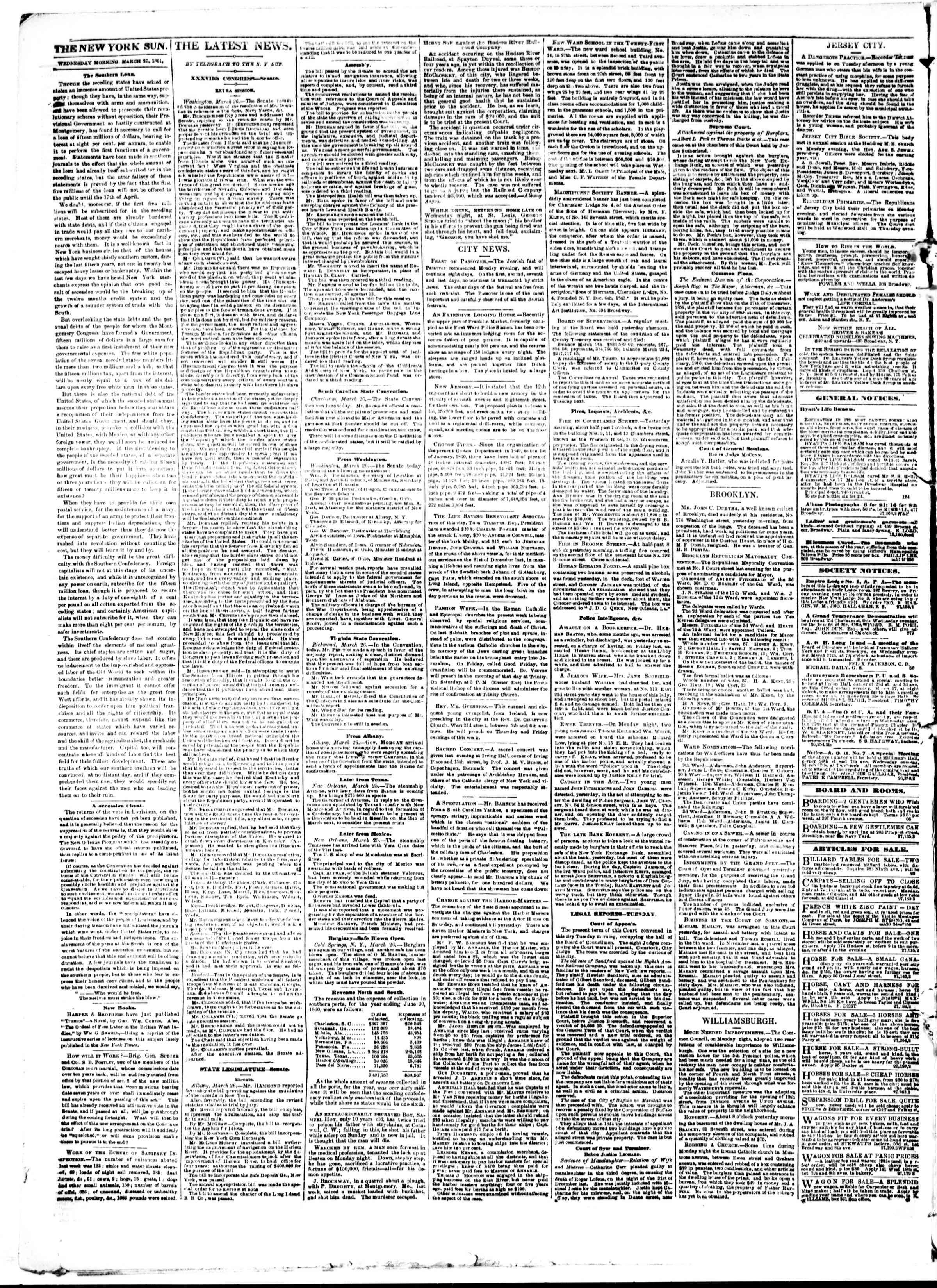 27 Mart 1861 tarihli The Sun Gazetesi Sayfa 2