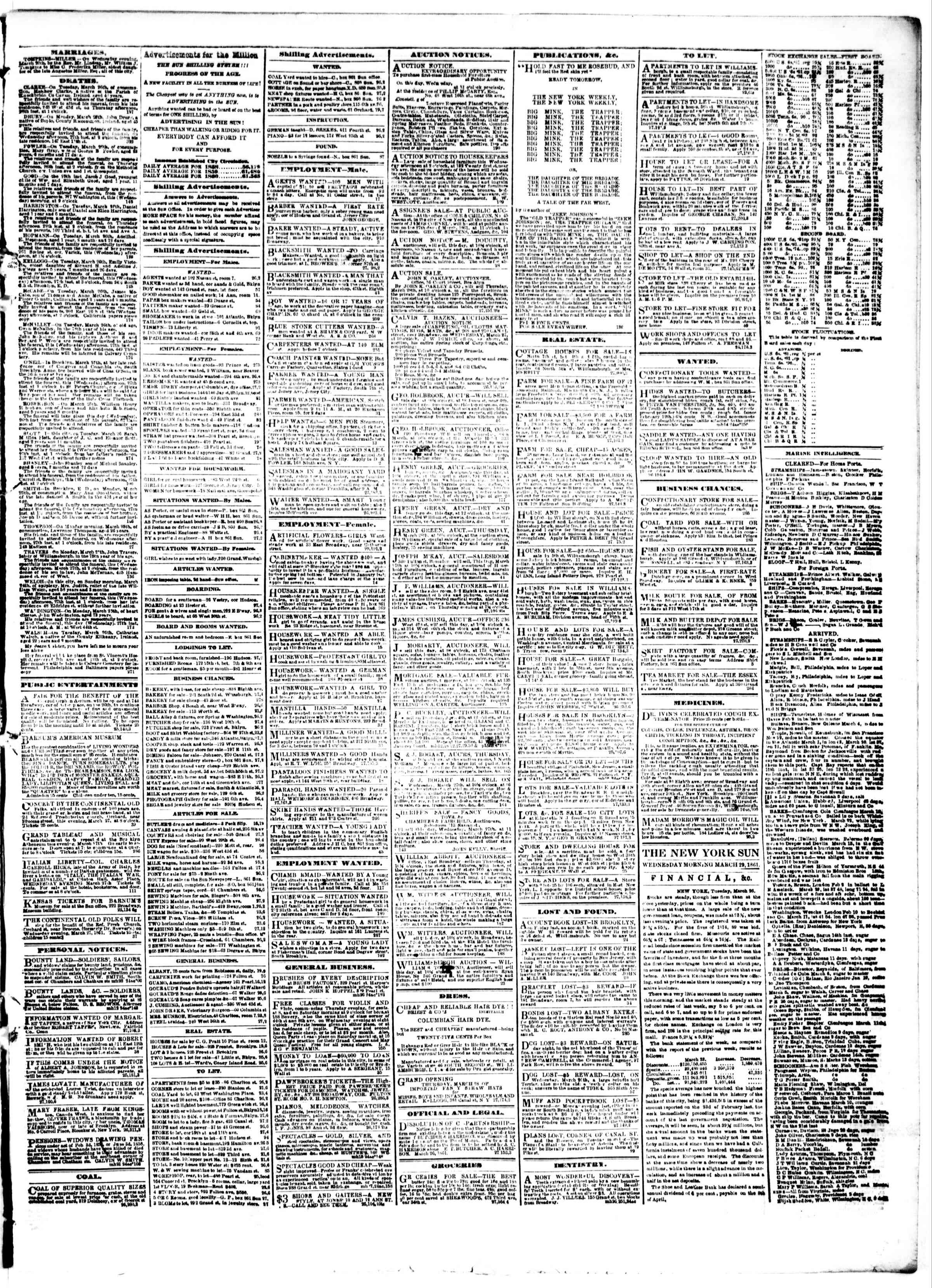 Newspaper of The Sun dated March 27, 1861 Page 3