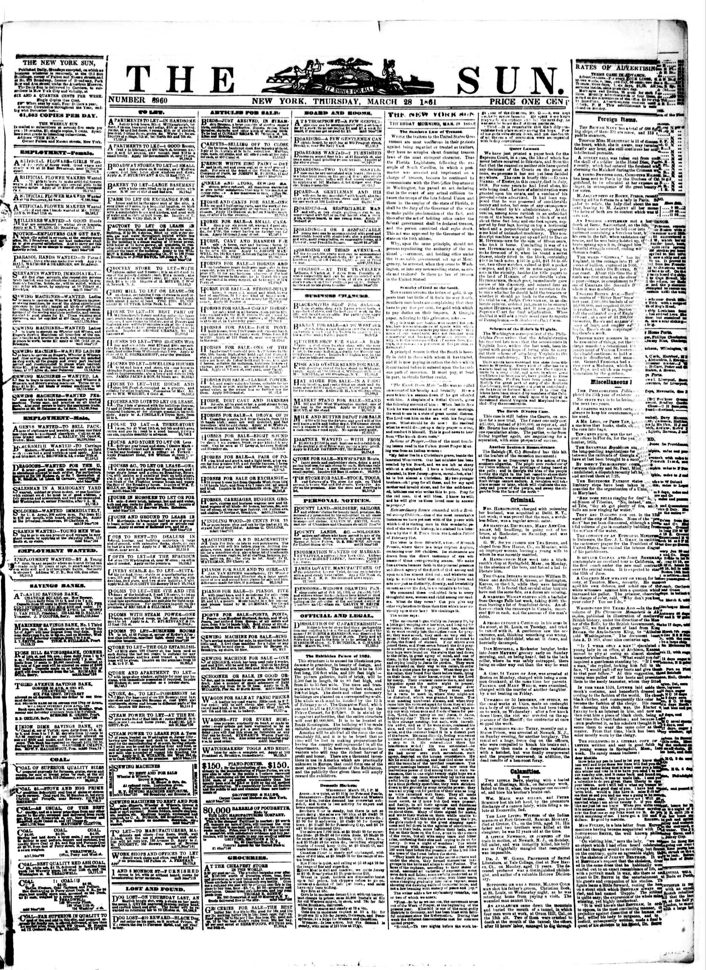 Newspaper of The Sun dated March 28, 1861 Page 1
