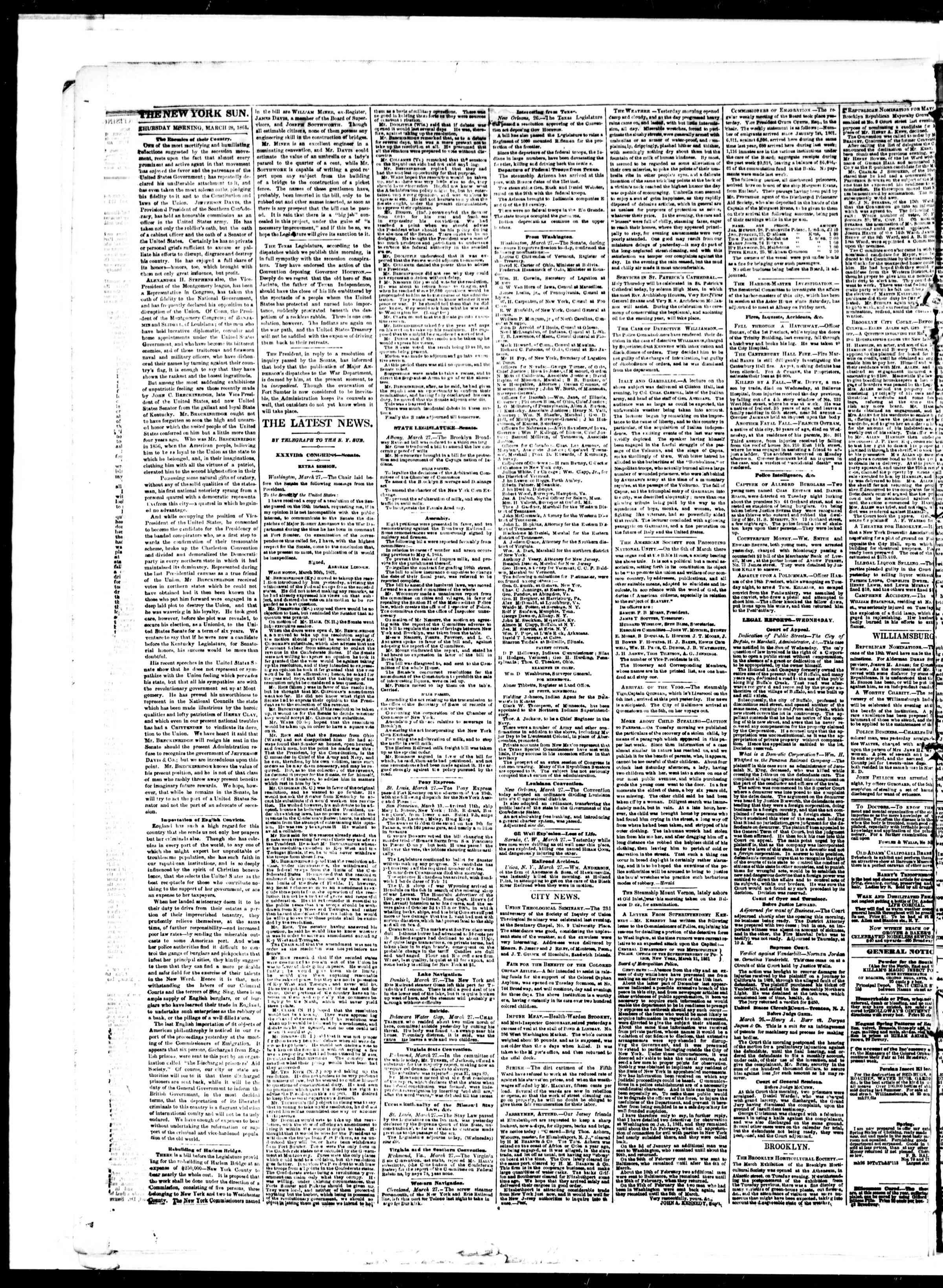 Newspaper of The Sun dated 28 Mart 1861 Page 2
