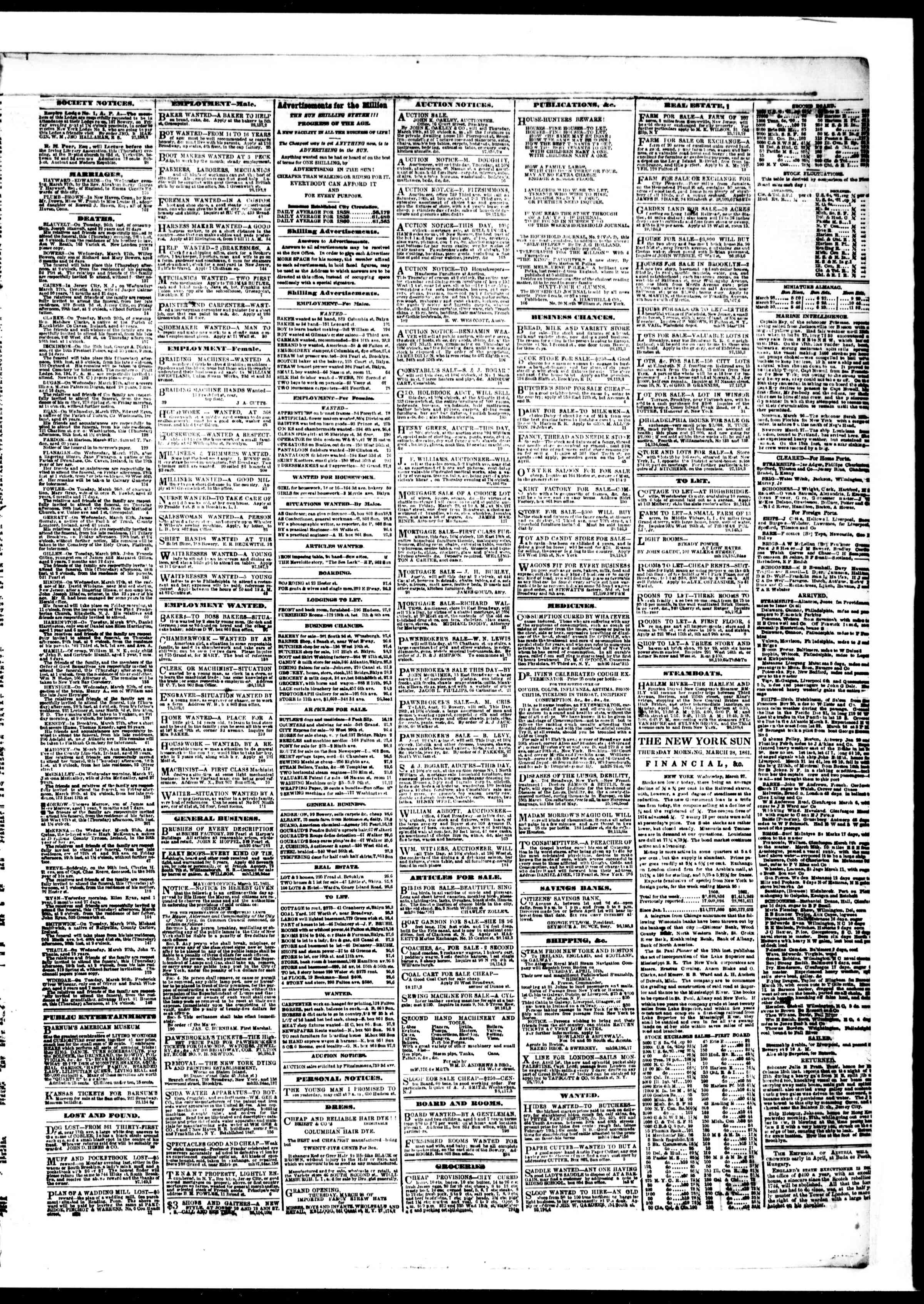 Newspaper of The Sun dated March 28, 1861 Page 3