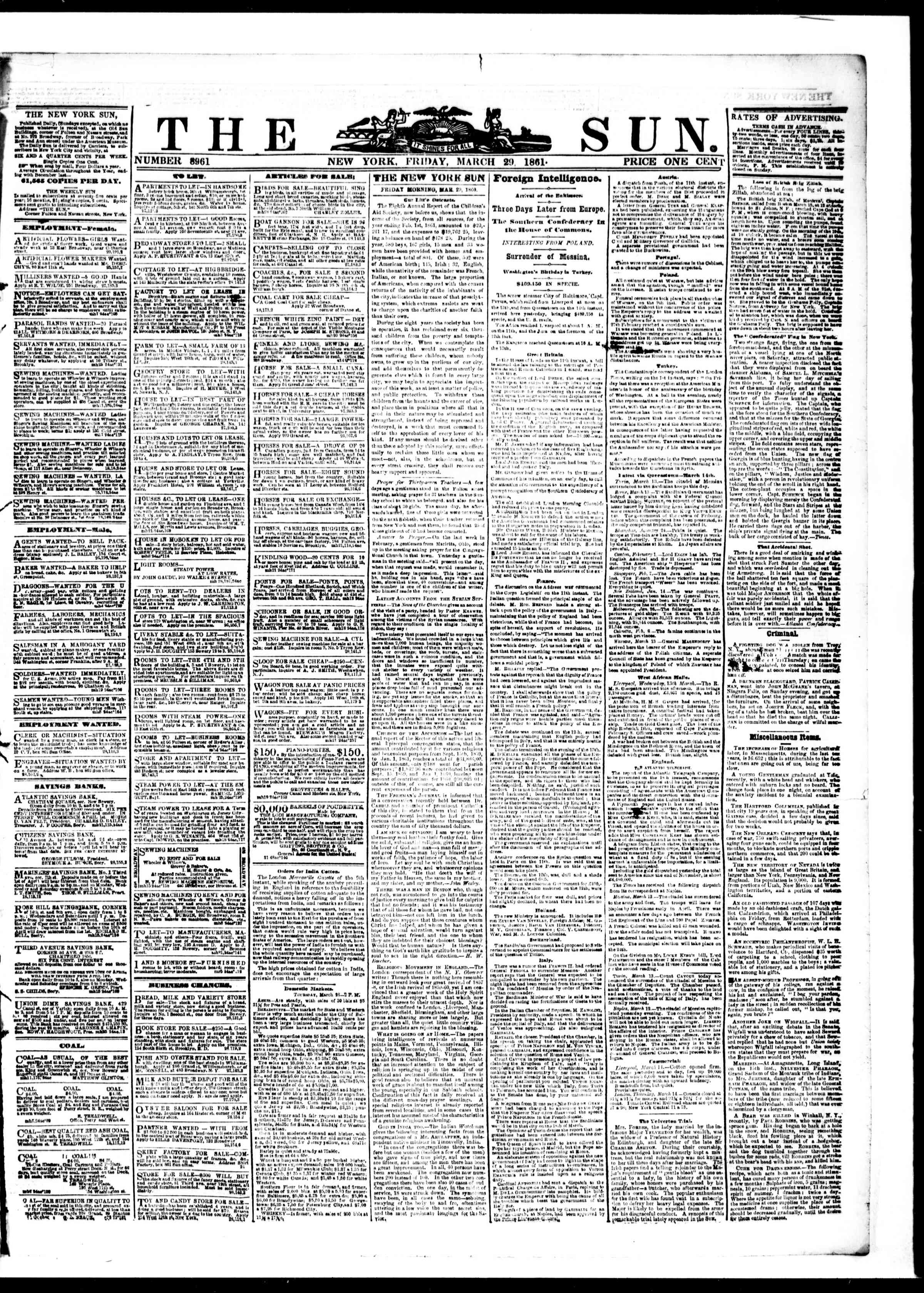 Newspaper of The Sun dated March 29, 1861 Page 1