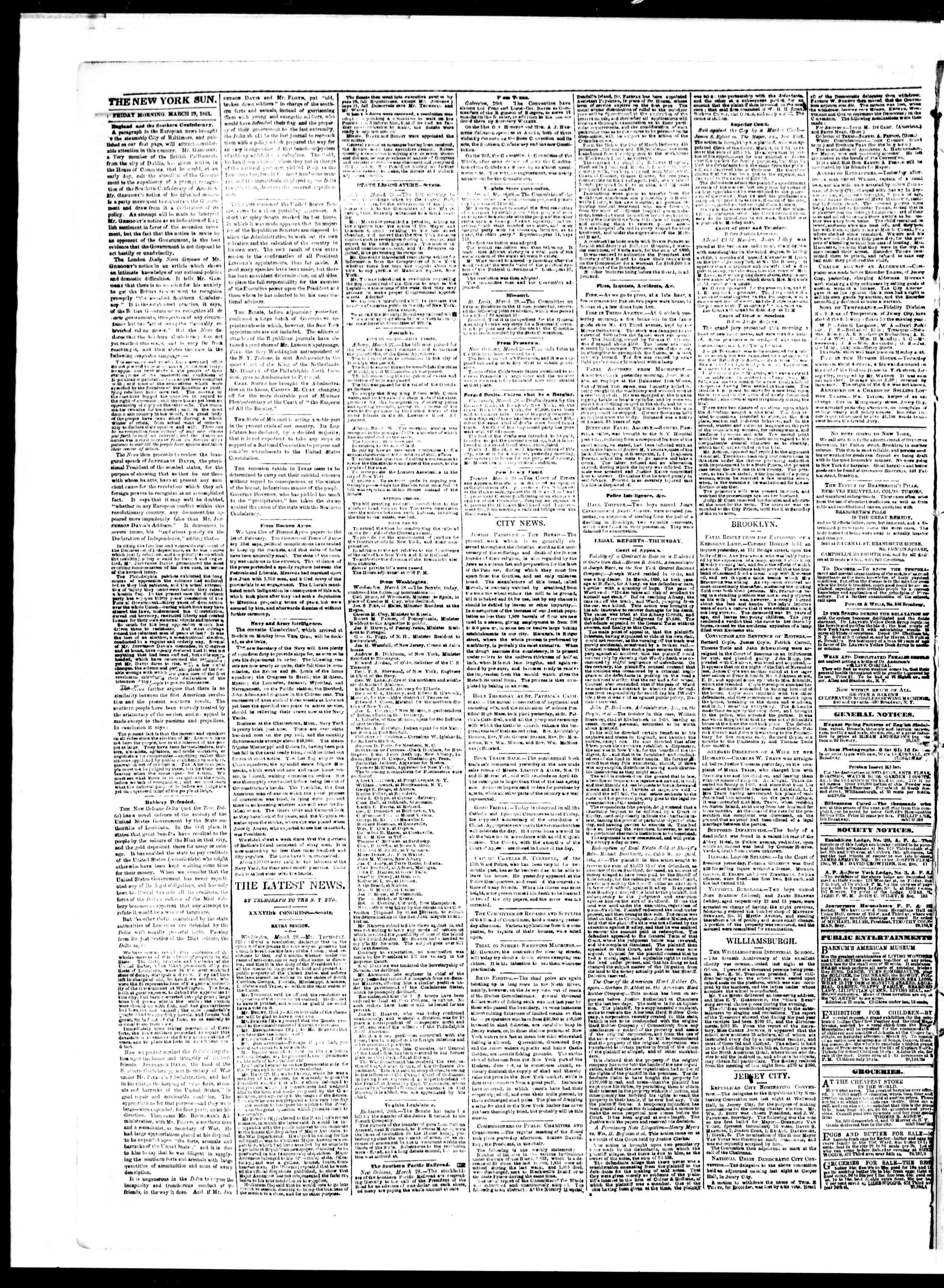 Newspaper of The Sun dated March 29, 1861 Page 2