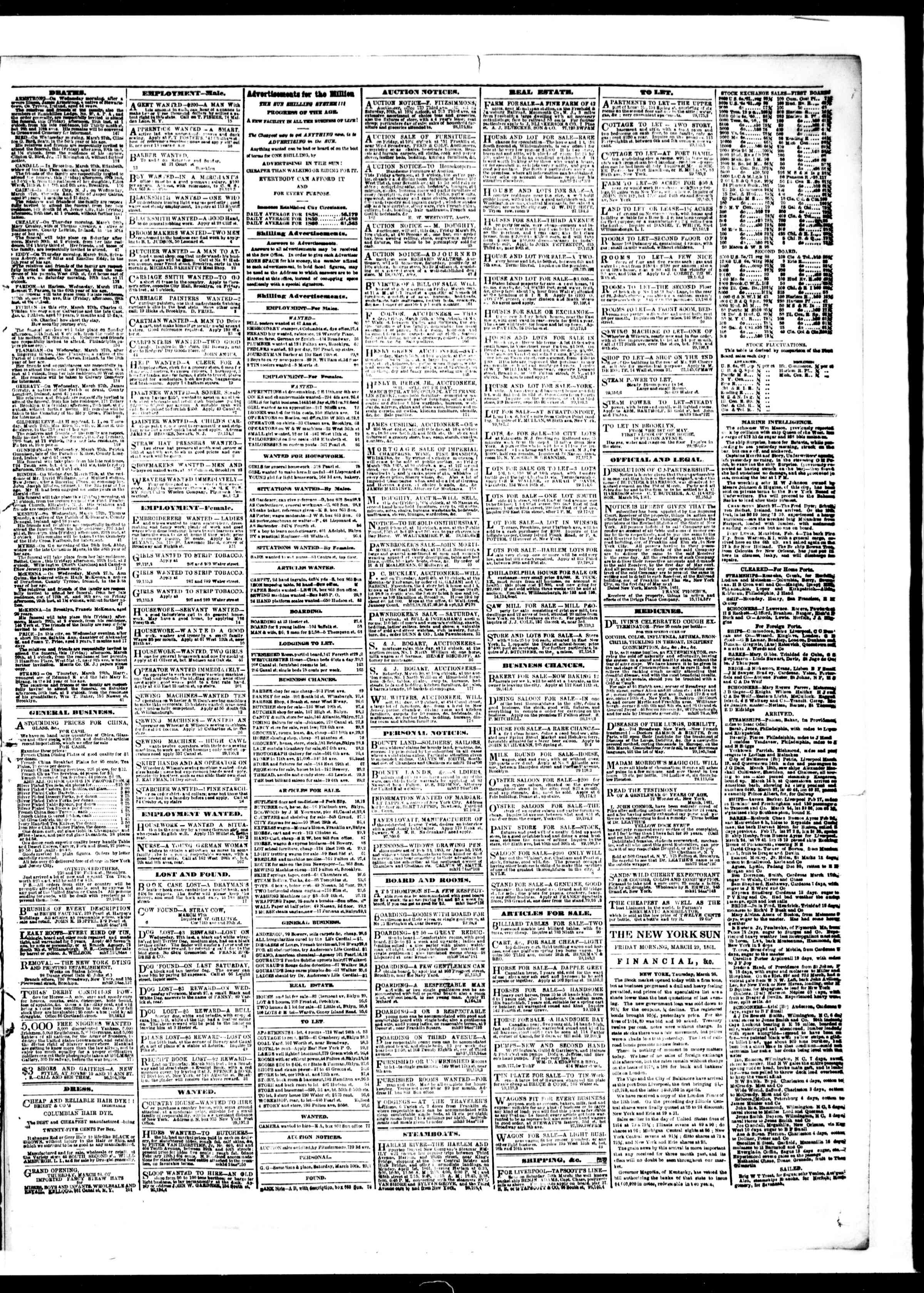 Newspaper of The Sun dated March 29, 1861 Page 3