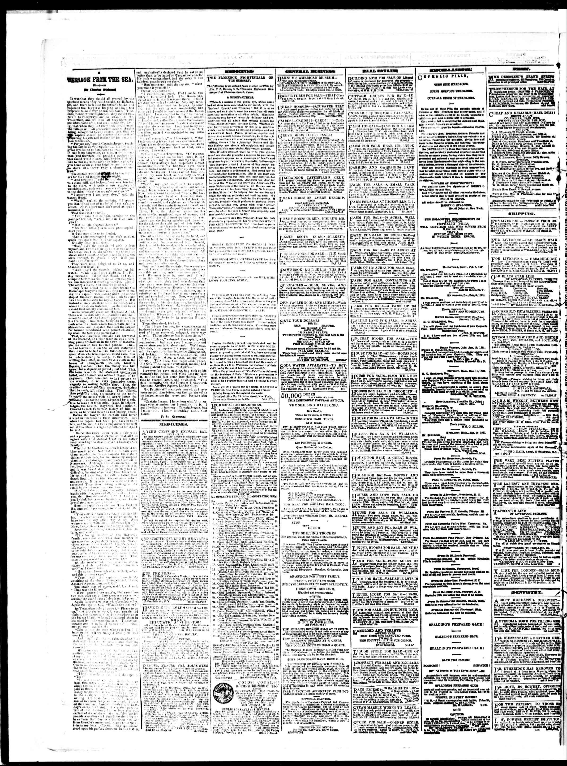 Newspaper of The Sun dated March 29, 1861 Page 4