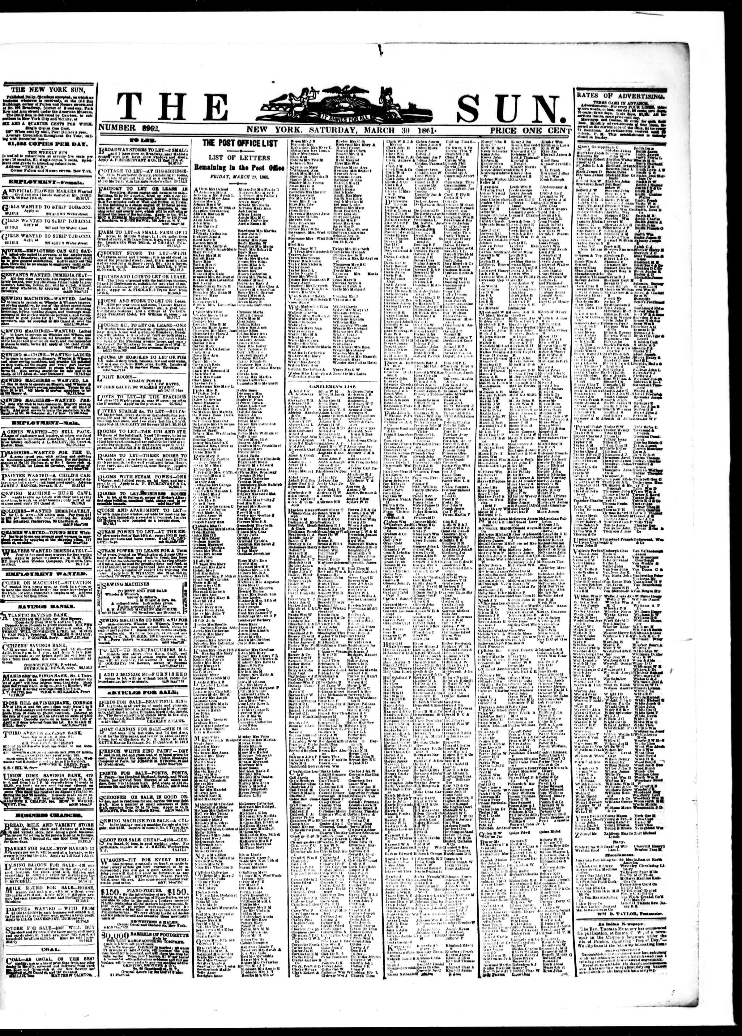 30 Mart 1861 tarihli The Sun Gazetesi Sayfa 1