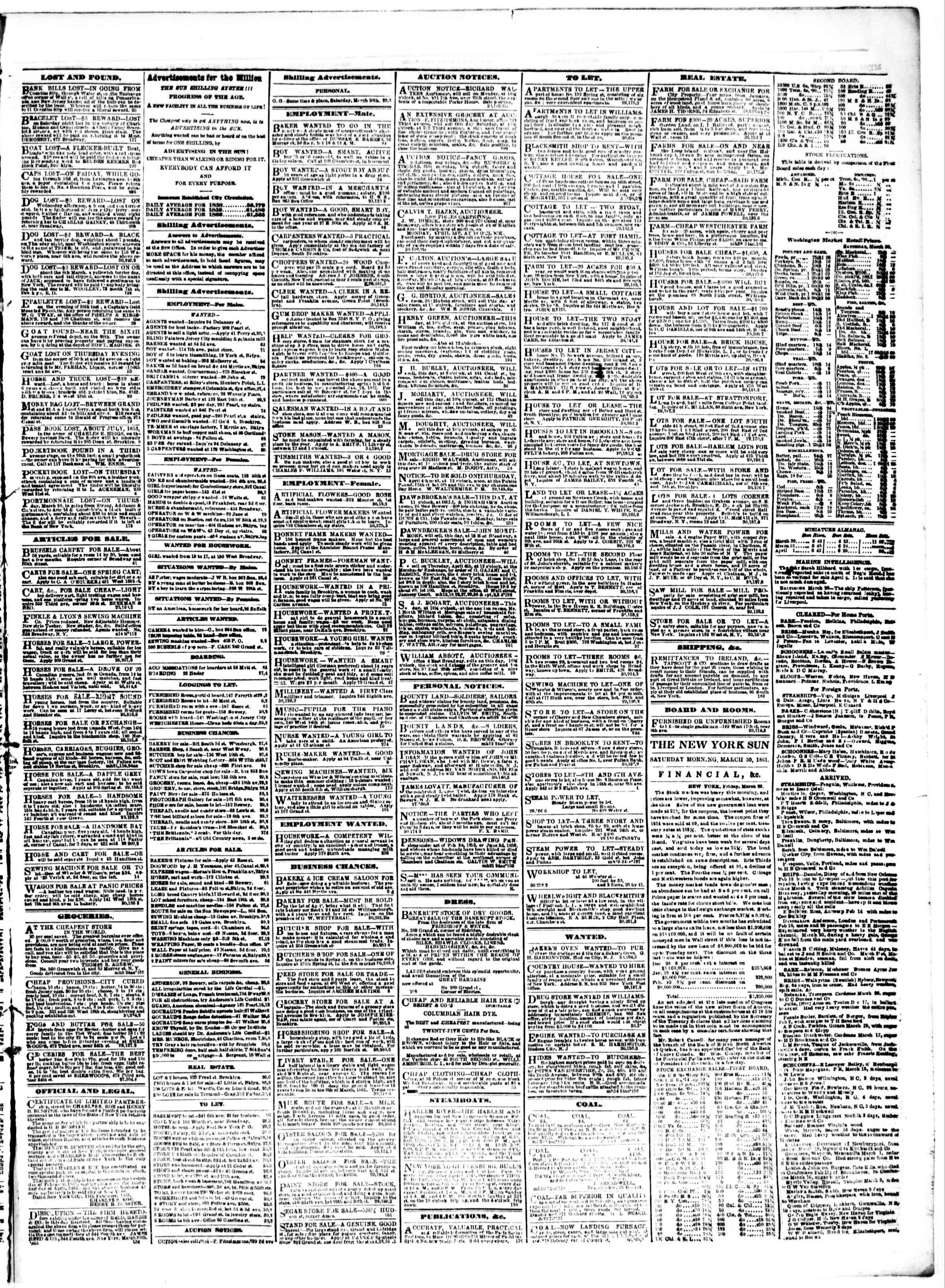 Newspaper of The Sun dated March 30, 1861 Page 3