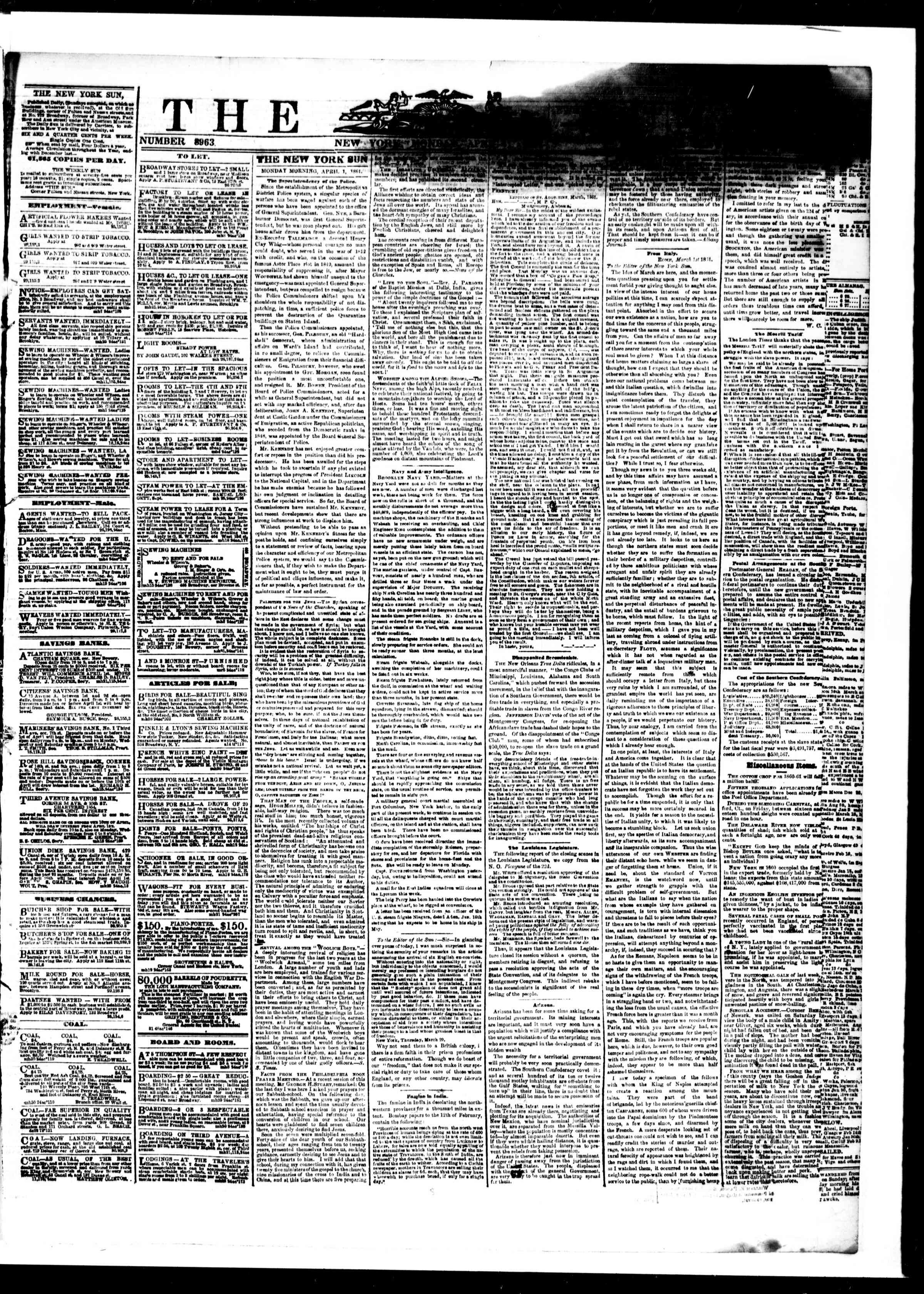 Newspaper of The Sun dated April 1, 1861 Page 1