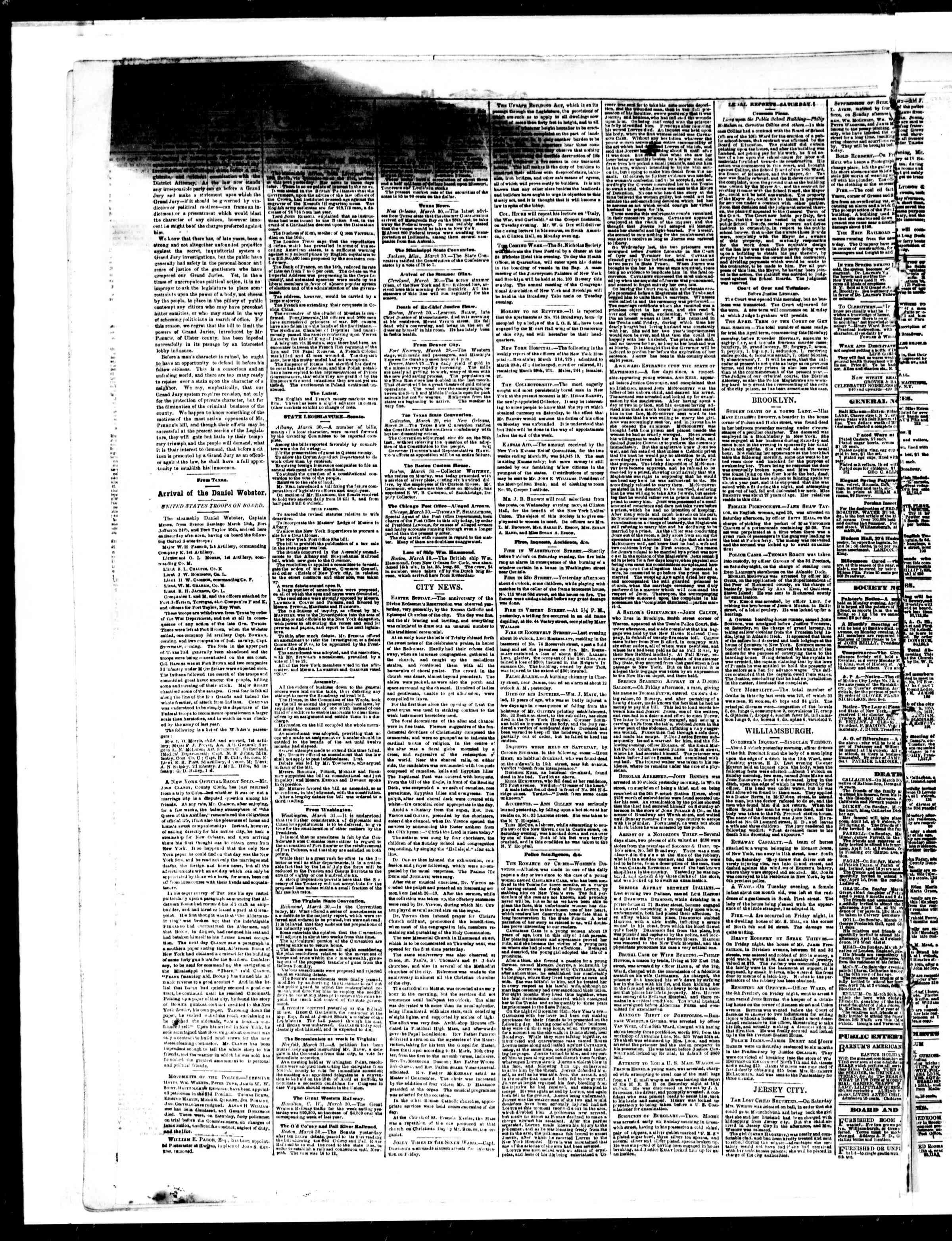 Newspaper of The Sun dated April 1, 1861 Page 2