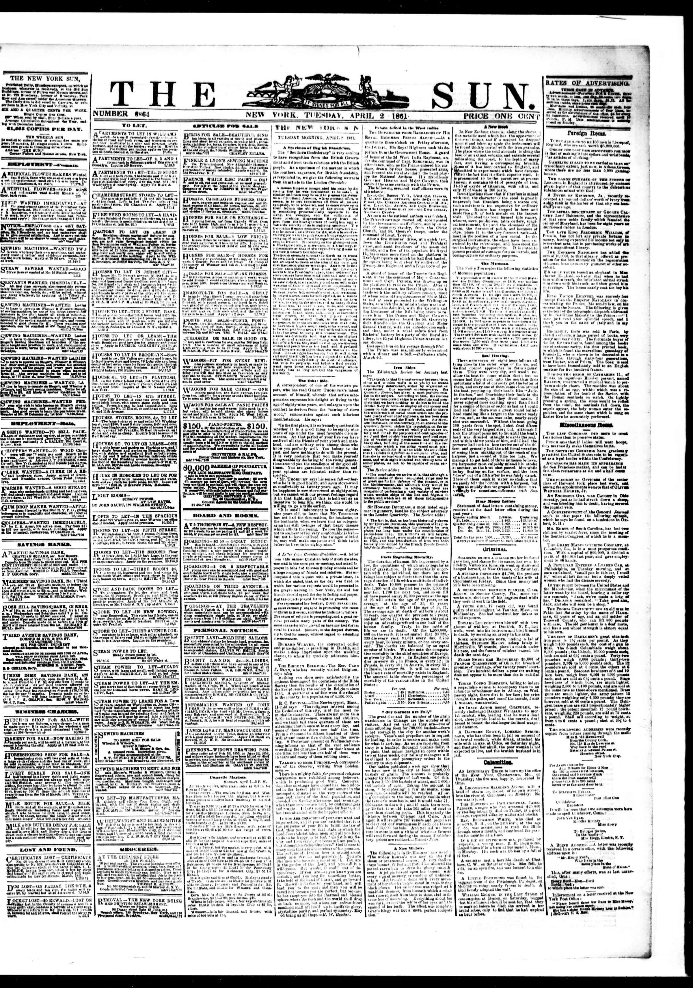Newspaper of The Sun dated April 2, 1861 Page 1