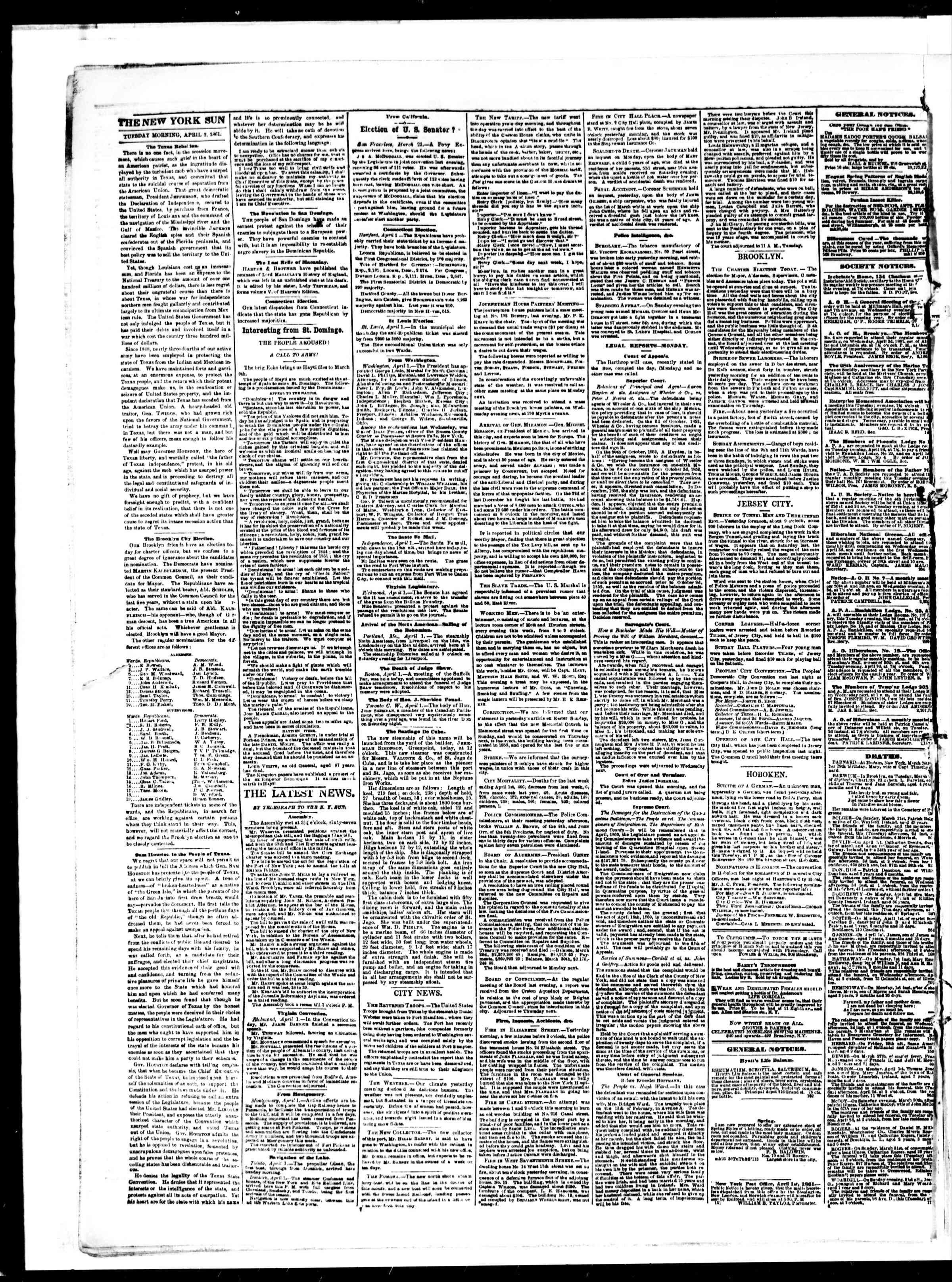 Newspaper of The Sun dated April 2, 1861 Page 2