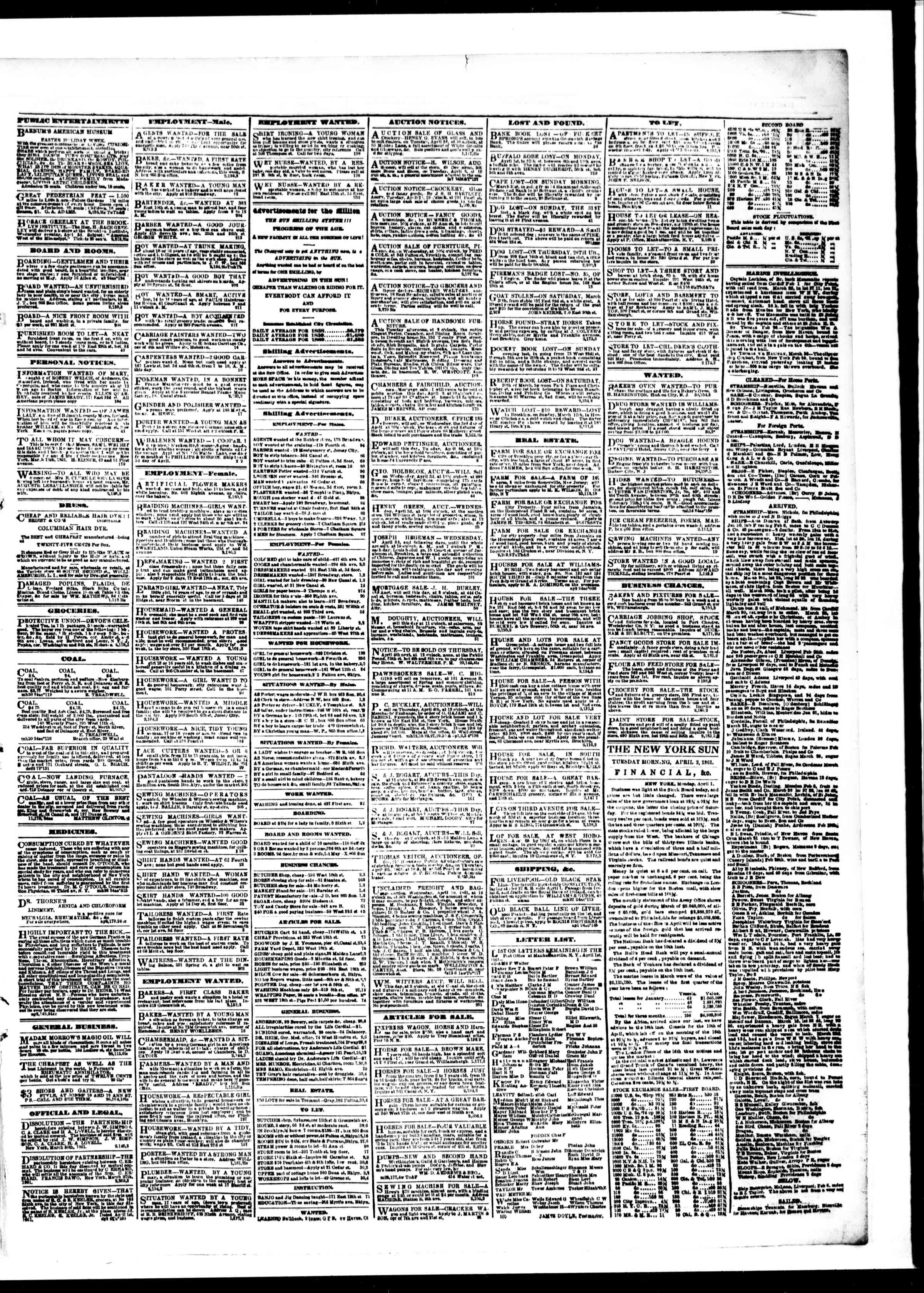 Newspaper of The Sun dated April 2, 1861 Page 3
