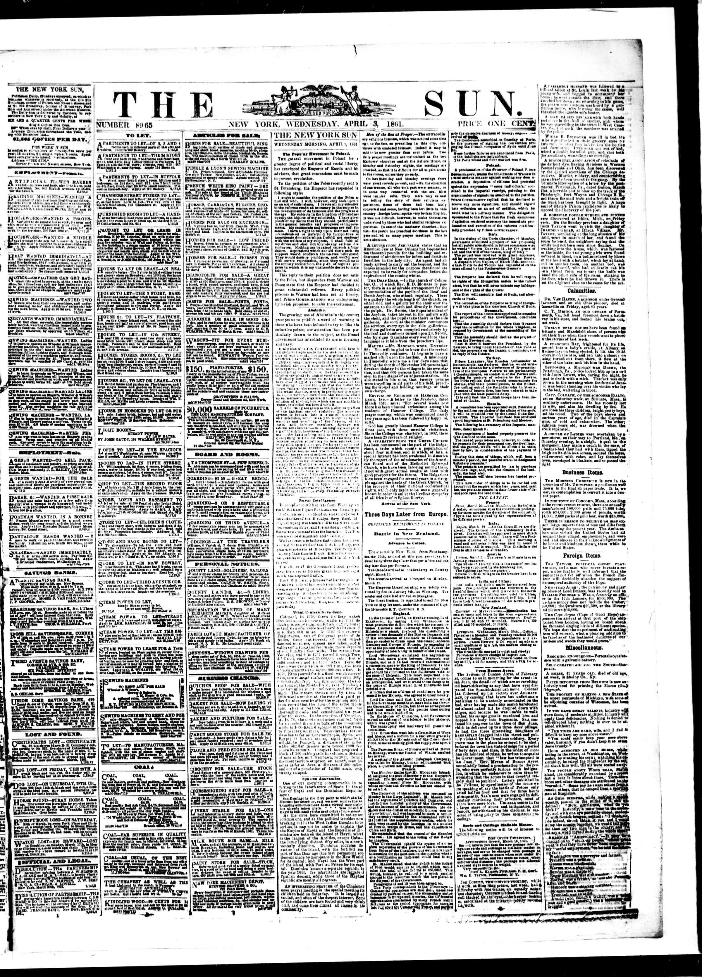 Newspaper of The Sun dated April 3, 1861 Page 1