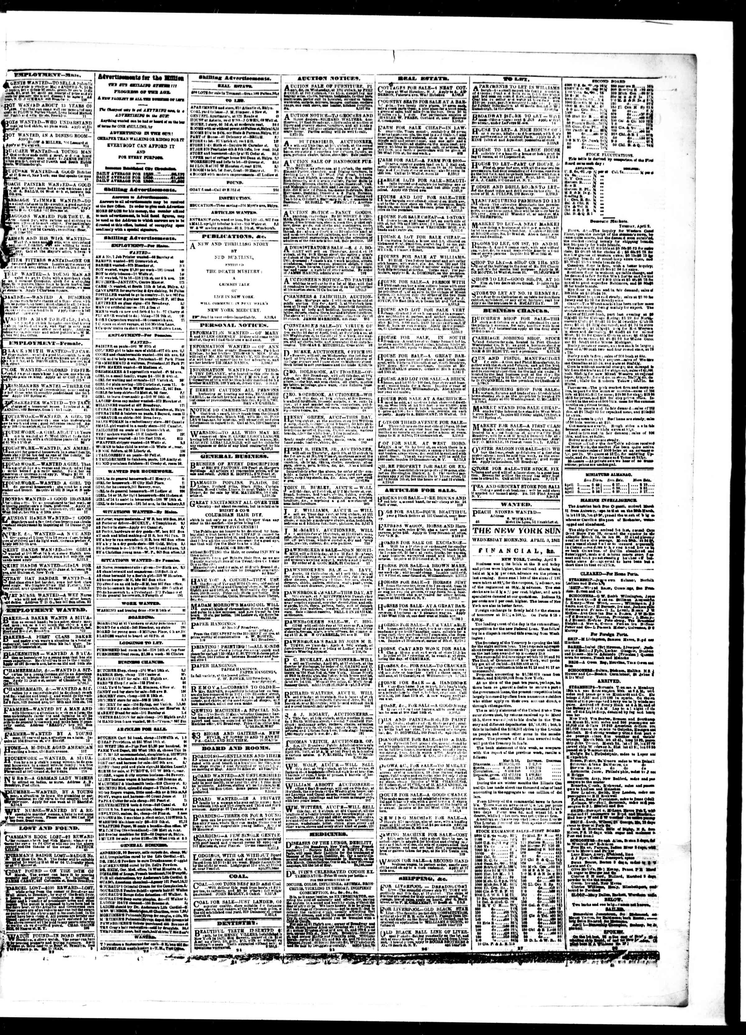 Newspaper of The Sun dated April 3, 1861 Page 3