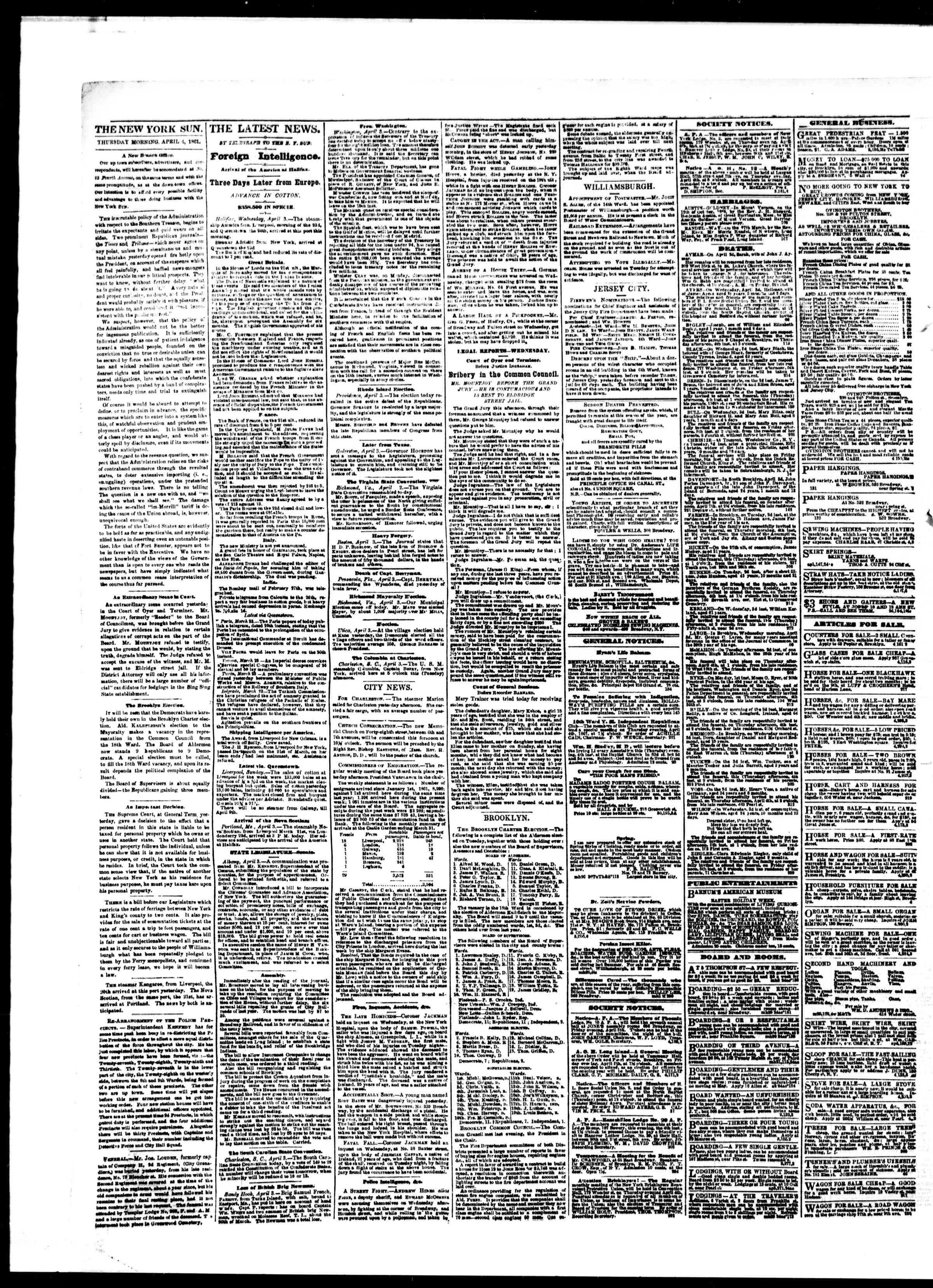 Newspaper of The Sun dated April 4, 1861 Page 2