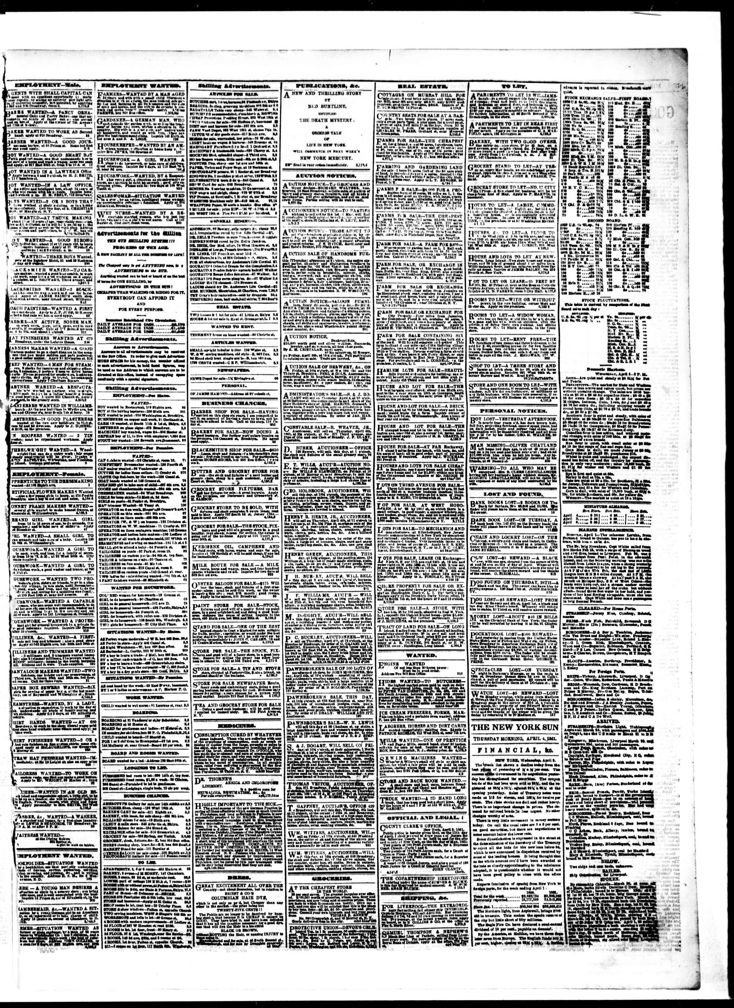 Newspaper of The Sun dated April 4, 1861 Page 3
