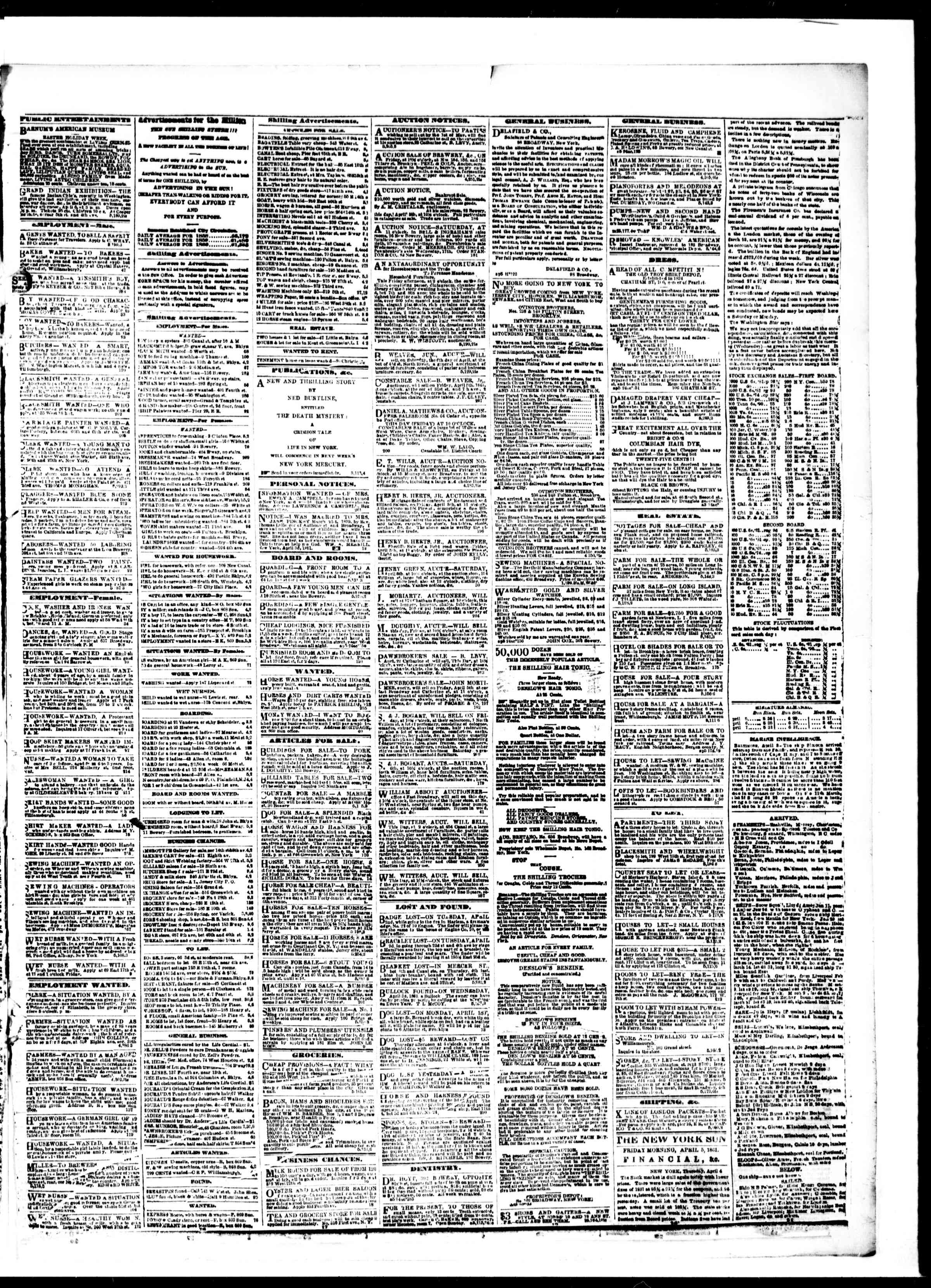 Newspaper of The Sun dated April 5, 1861 Page 3