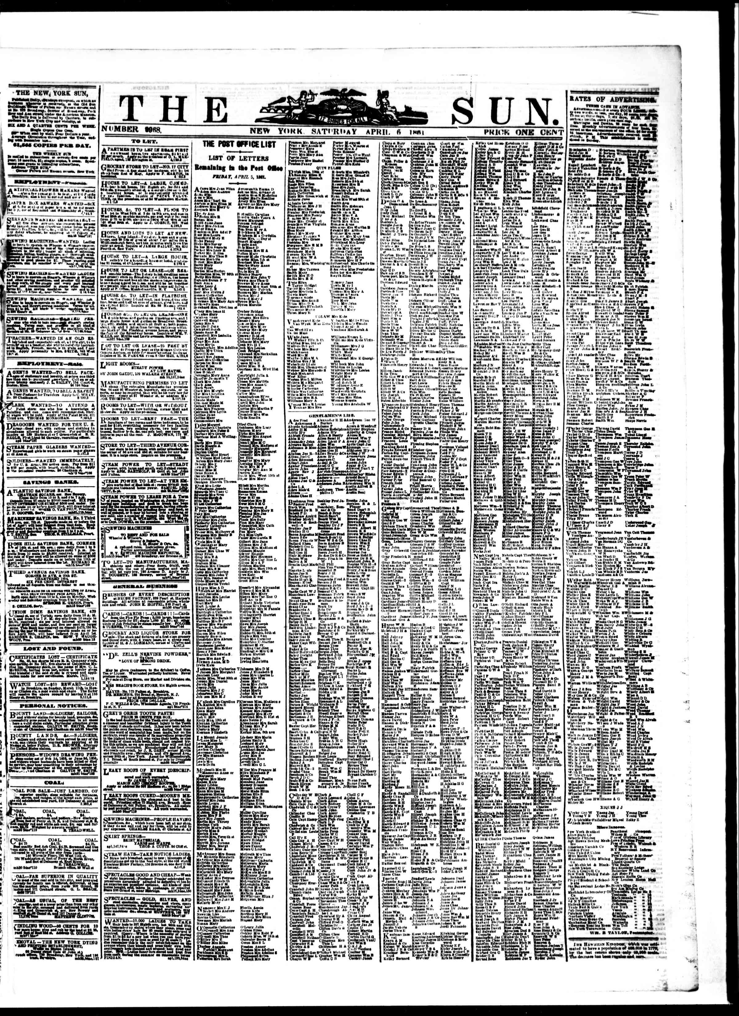 Newspaper of The Sun dated April 6, 1861 Page 1