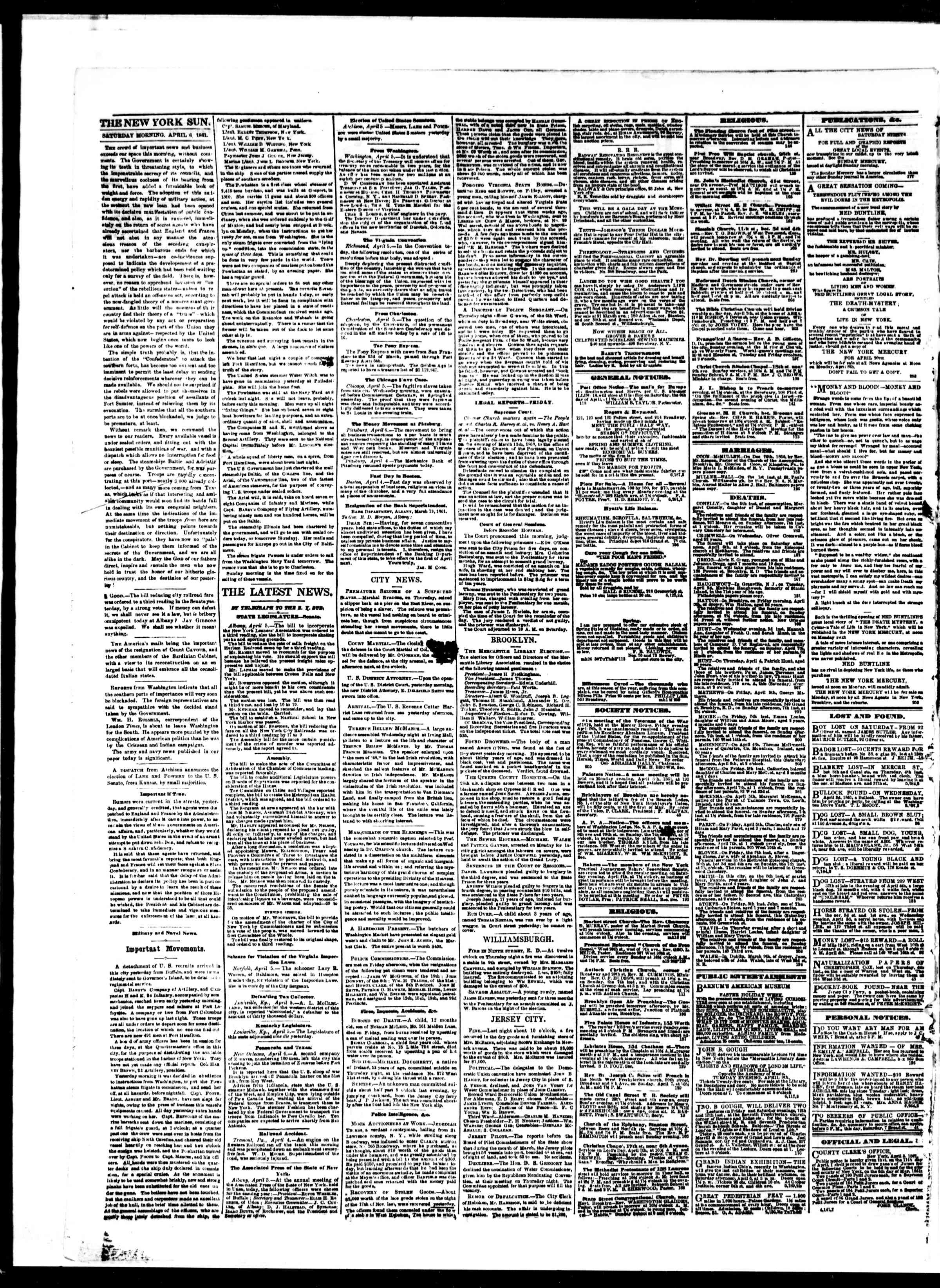 Newspaper of The Sun dated April 6, 1861 Page 2