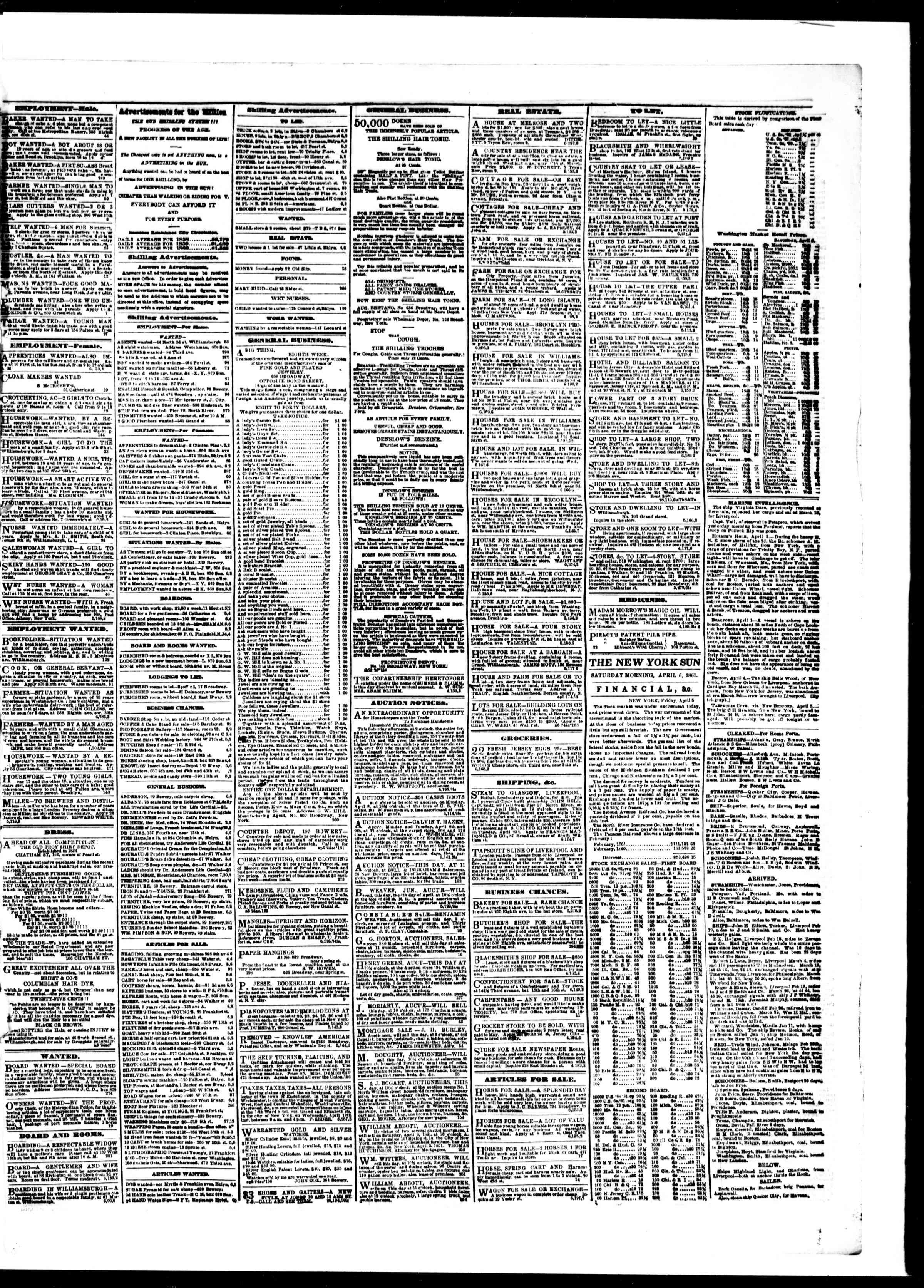 Newspaper of The Sun dated April 6, 1861 Page 3