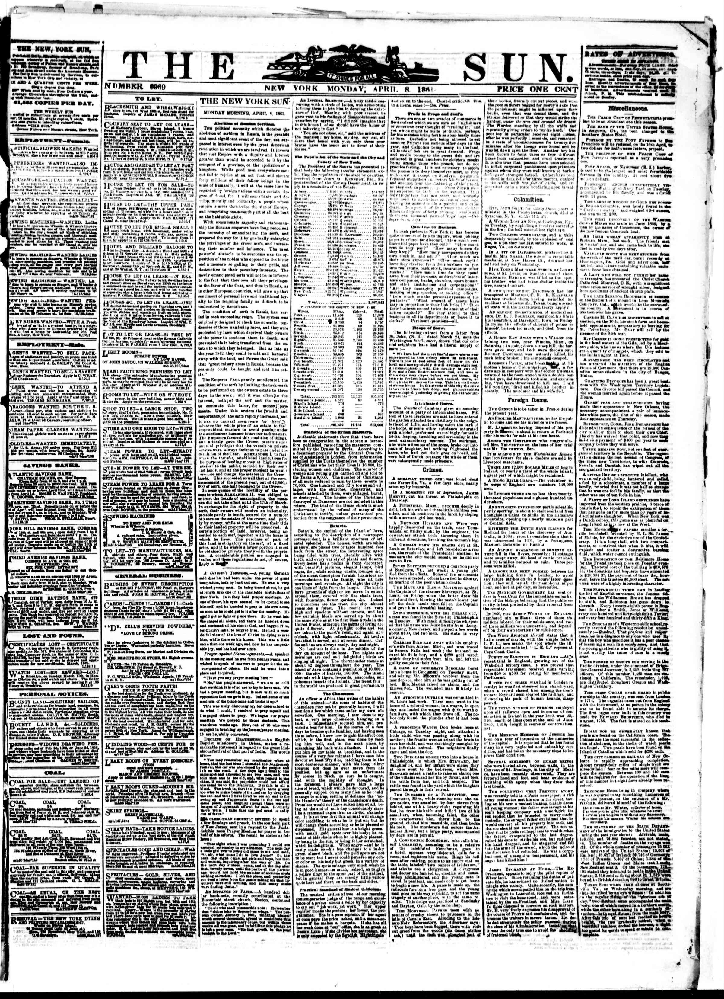 Newspaper of The Sun dated April 8, 1861 Page 1