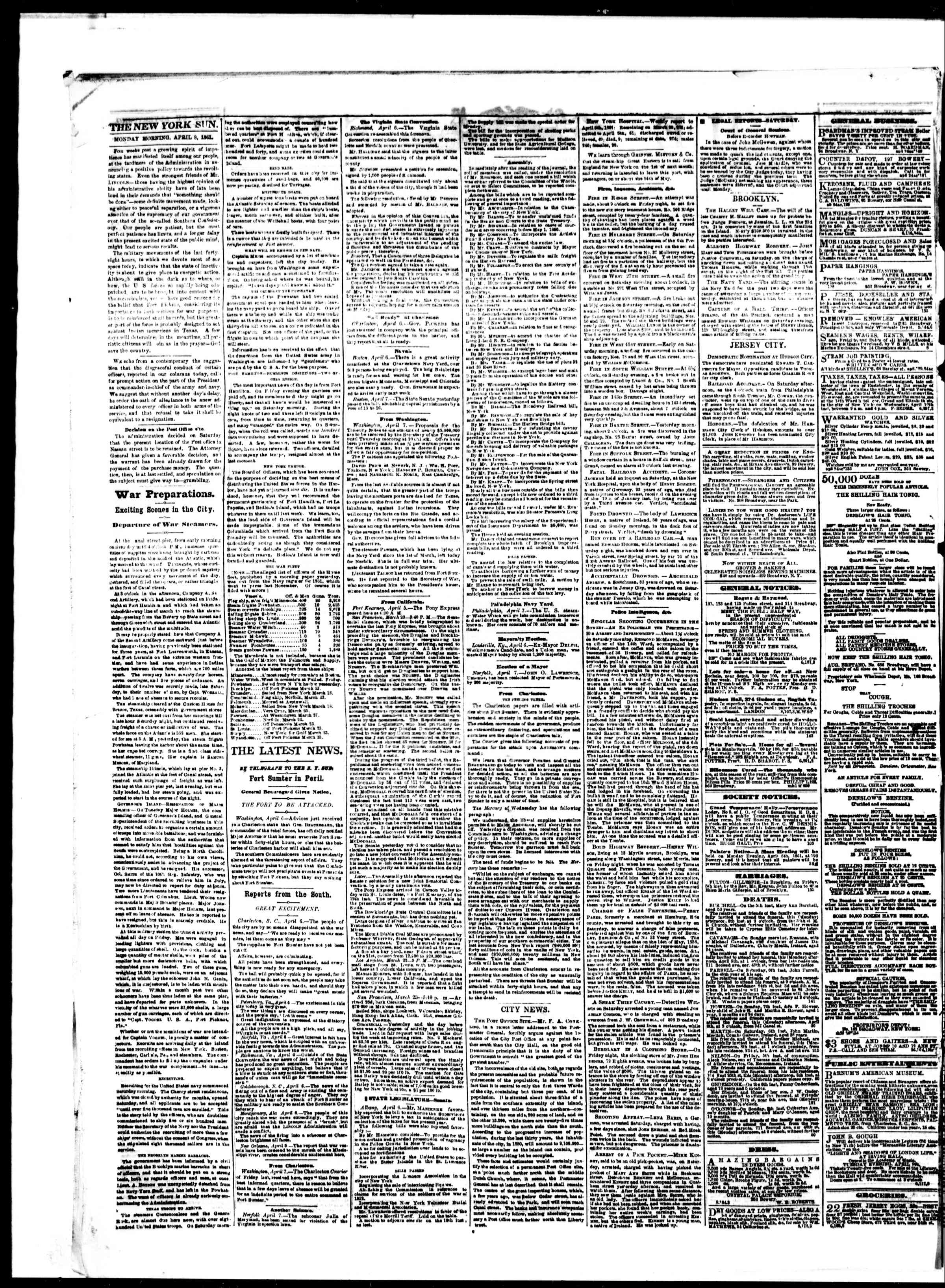 Newspaper of The Sun dated April 8, 1861 Page 2