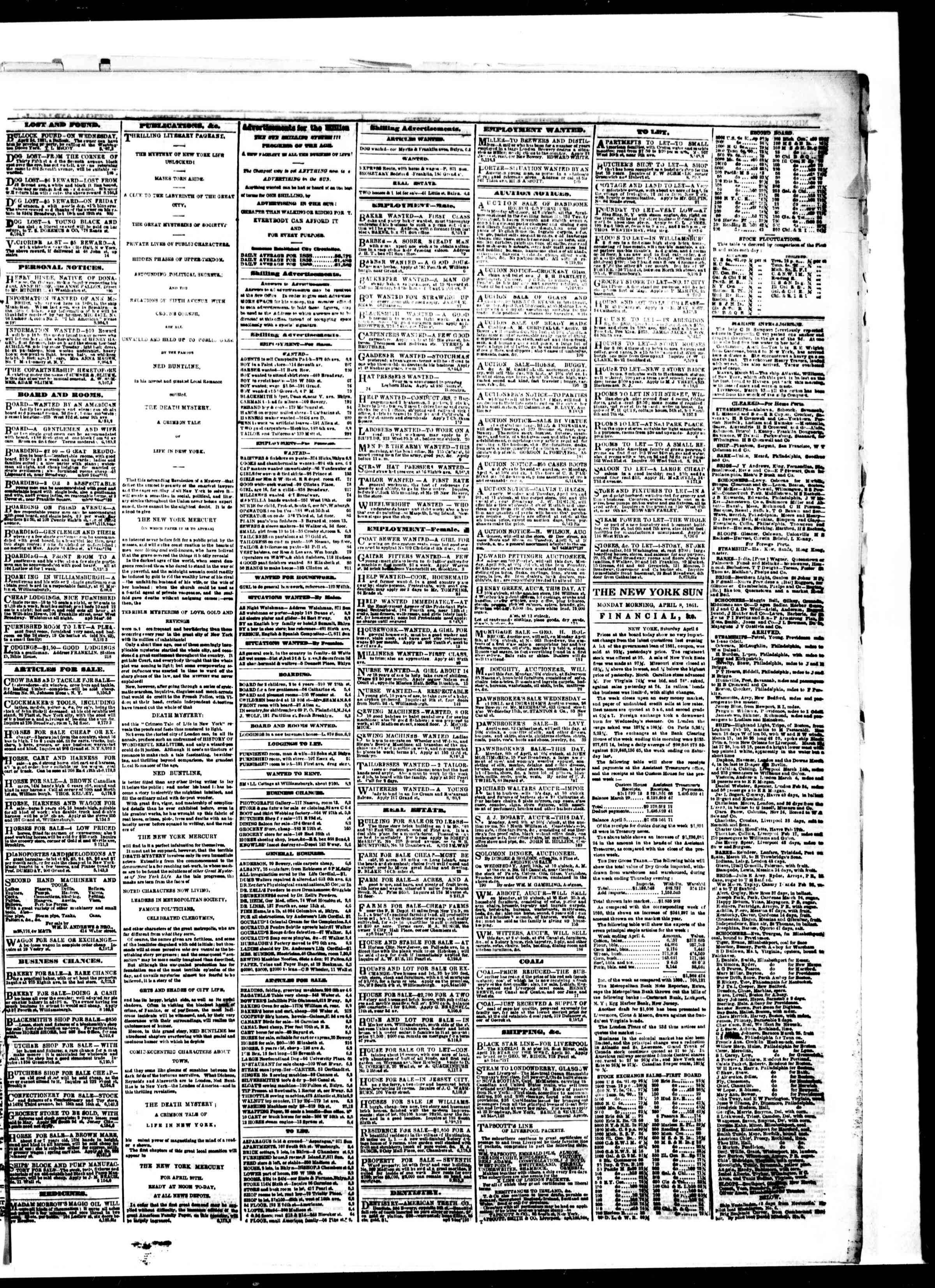 Newspaper of The Sun dated 8 Nisan 1861 Page 3