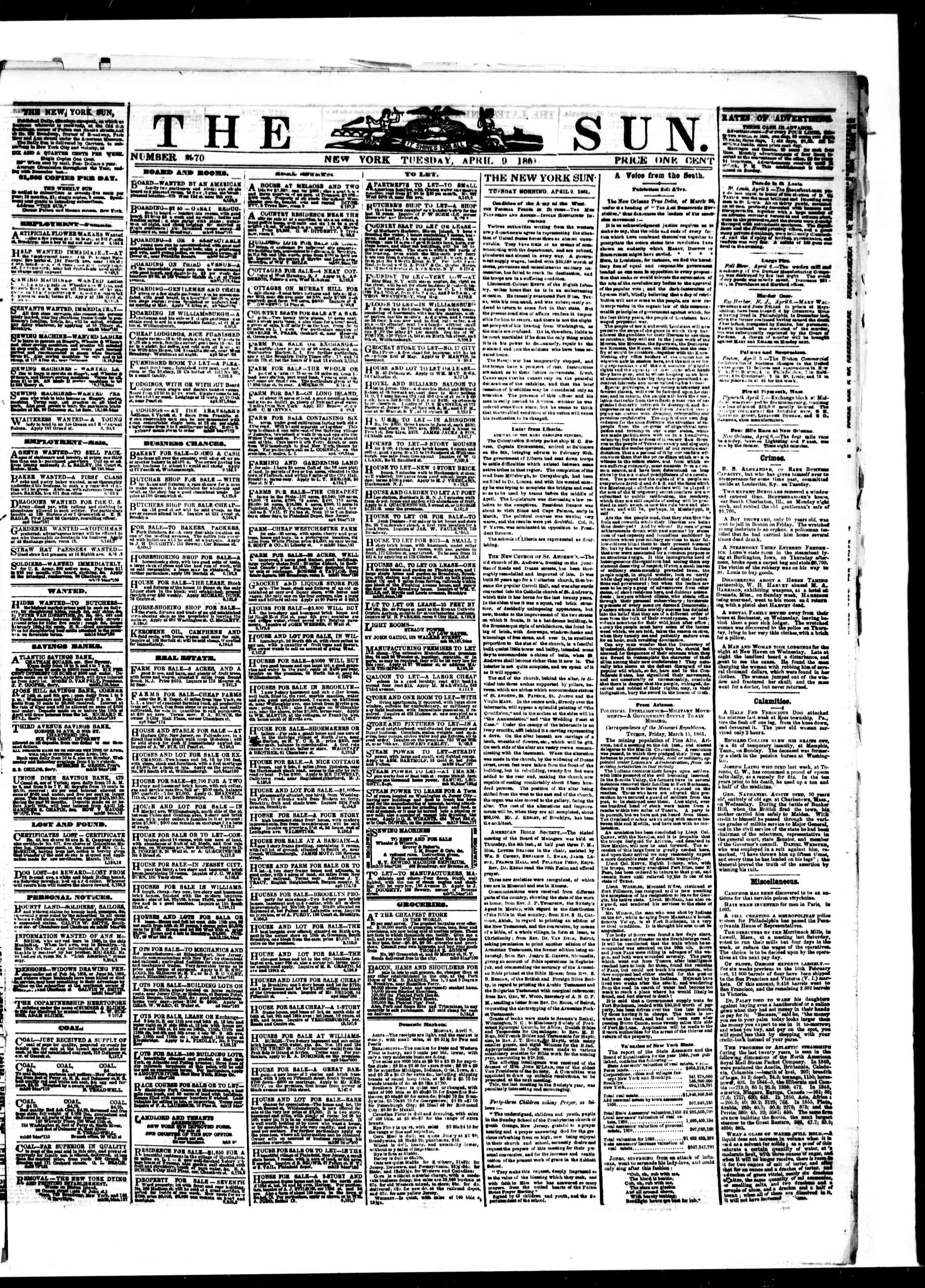 Newspaper of The Sun dated April 9, 1861 Page 1