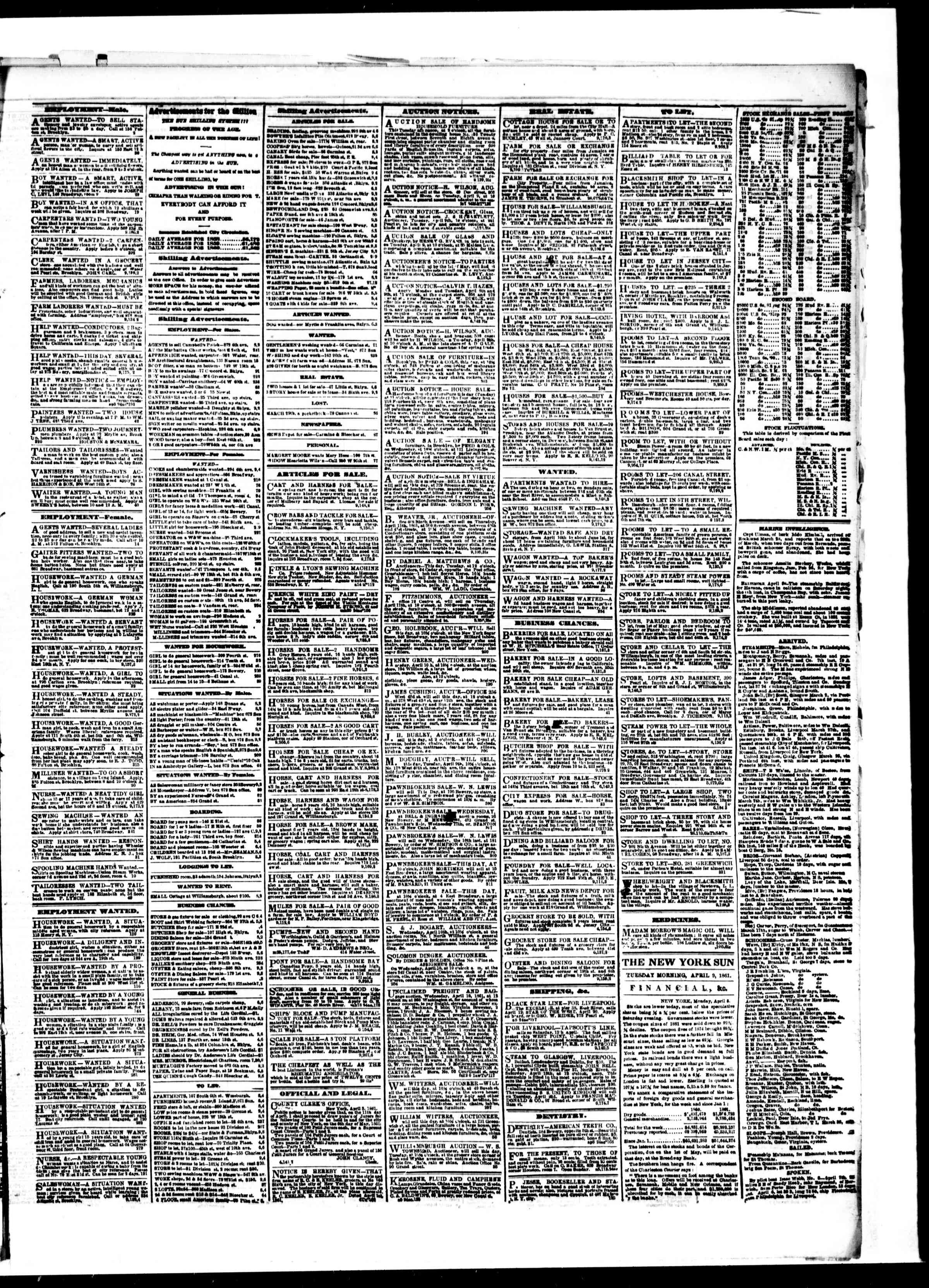 Newspaper of The Sun dated April 9, 1861 Page 3