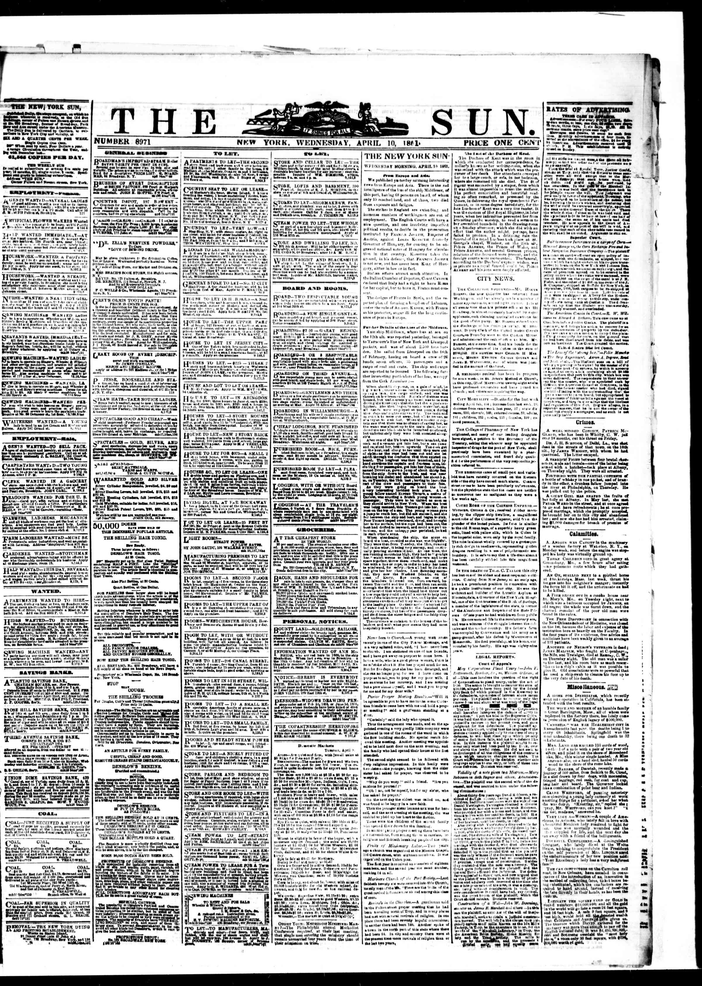 Newspaper of The Sun dated April 10, 1861 Page 1