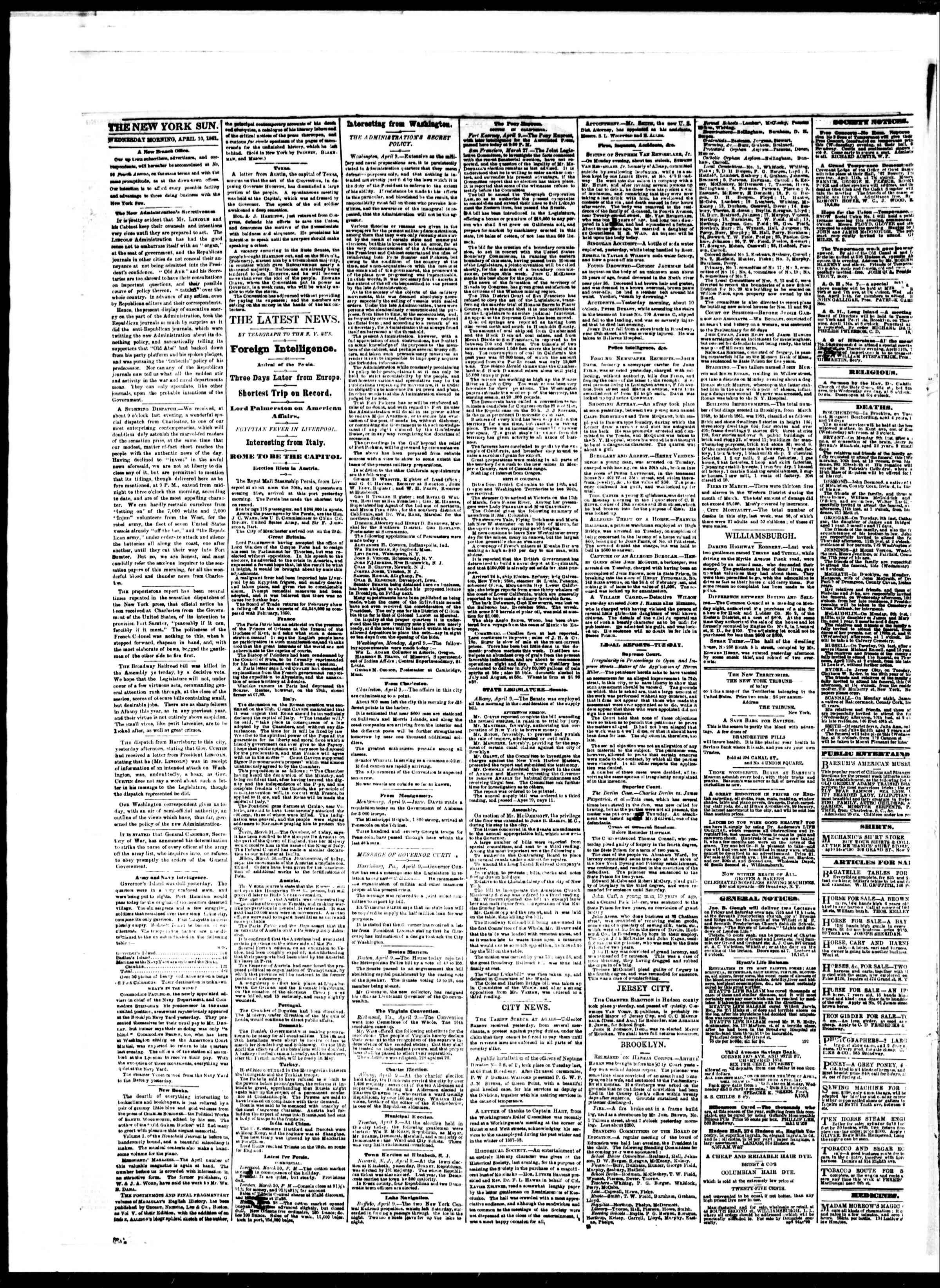 Newspaper of The Sun dated April 10, 1861 Page 2